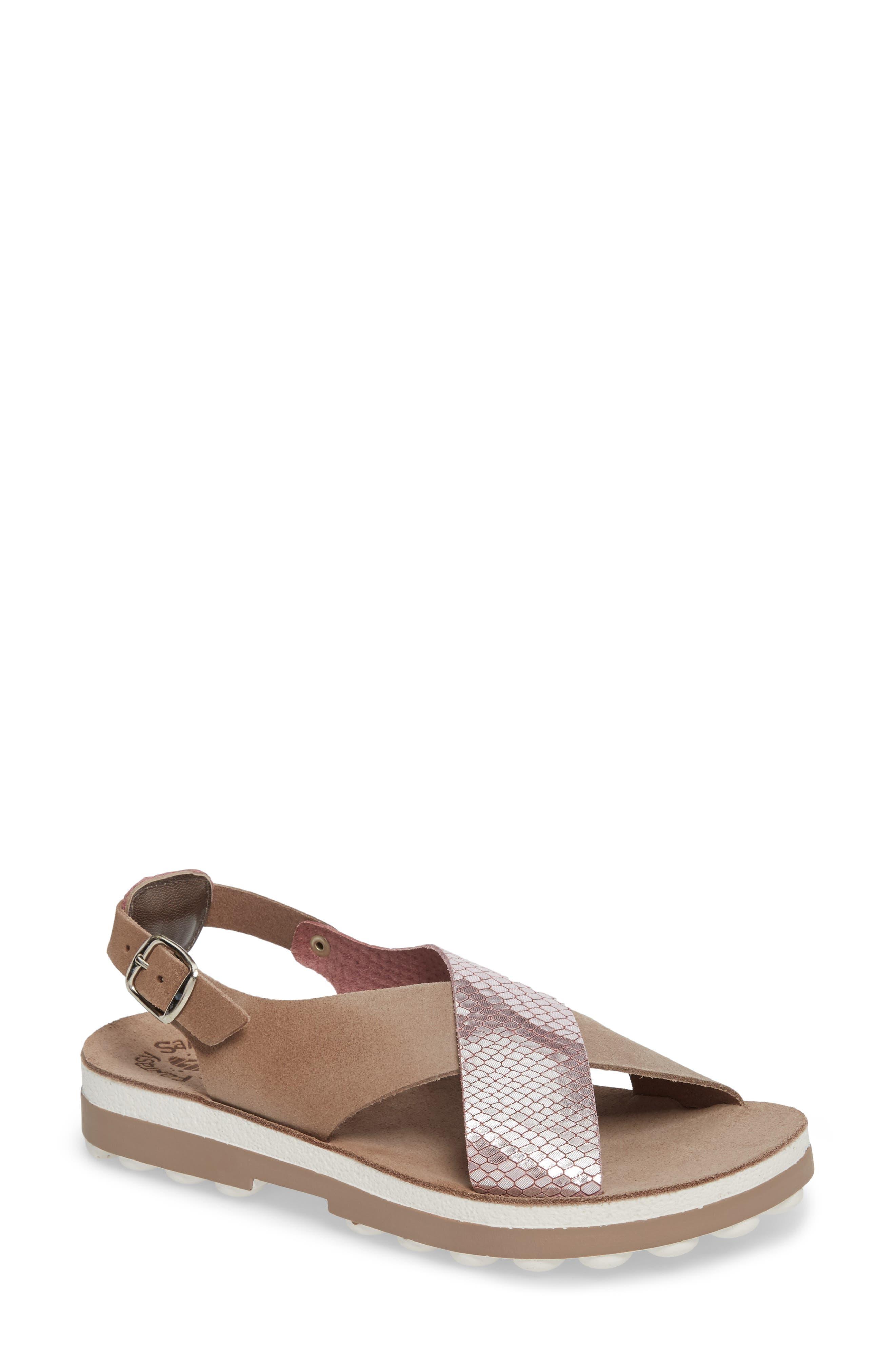 Izabella Fantasy Platform Sandal,                         Main,                         color, Coffee Snake Leather