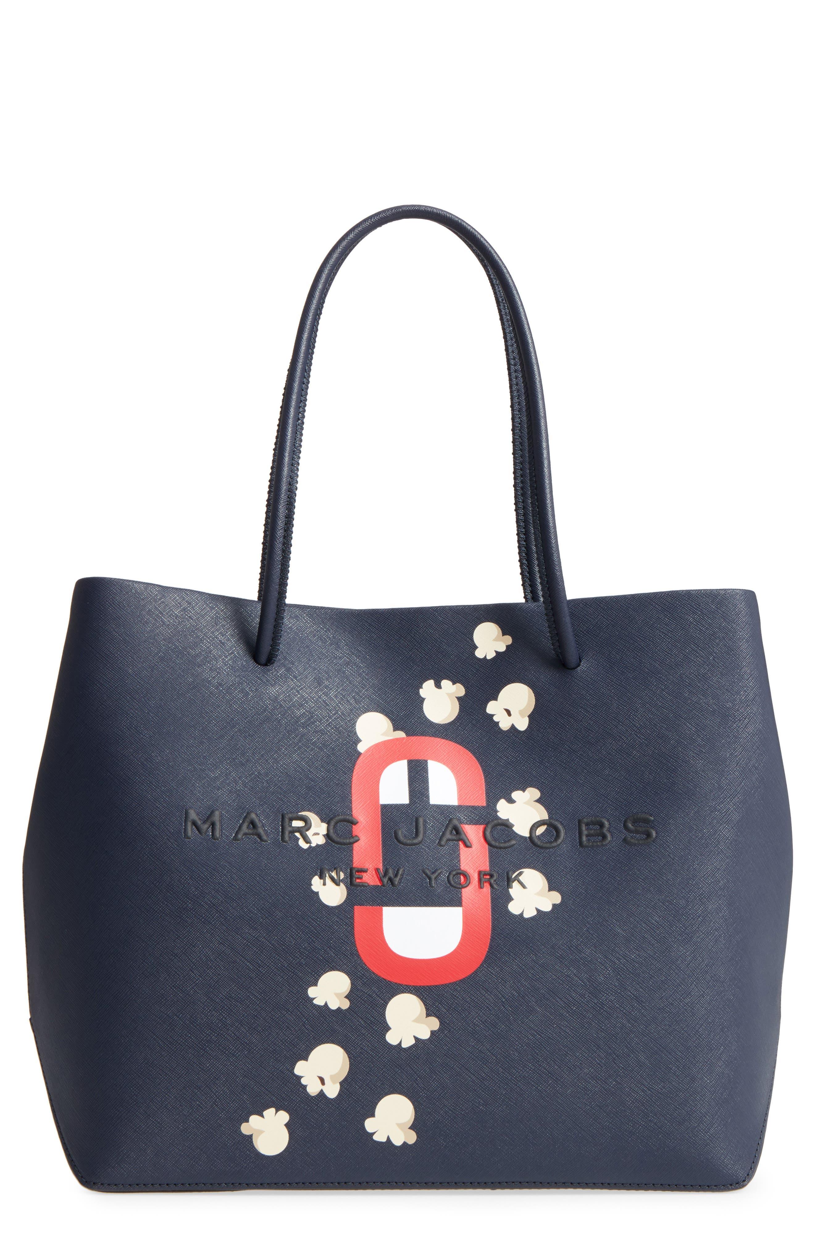 Popcorn Logo Scream Leather Tote,                         Main,                         color, Midnight Blue