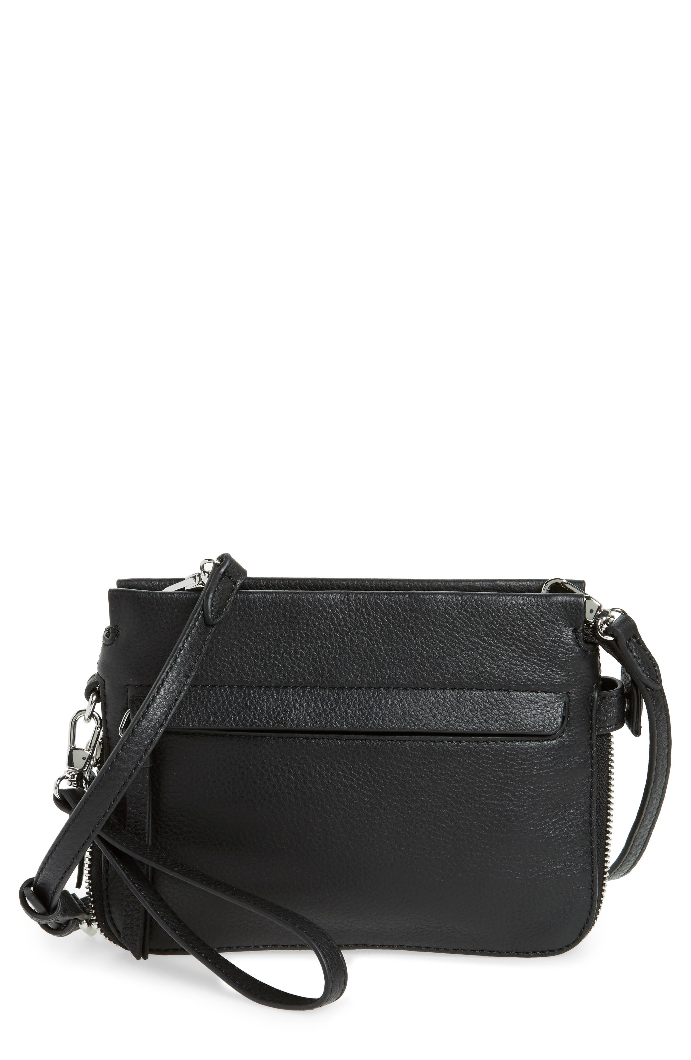 Small Edsel Leather Crossbody Bag,                         Main,                         color, Nero