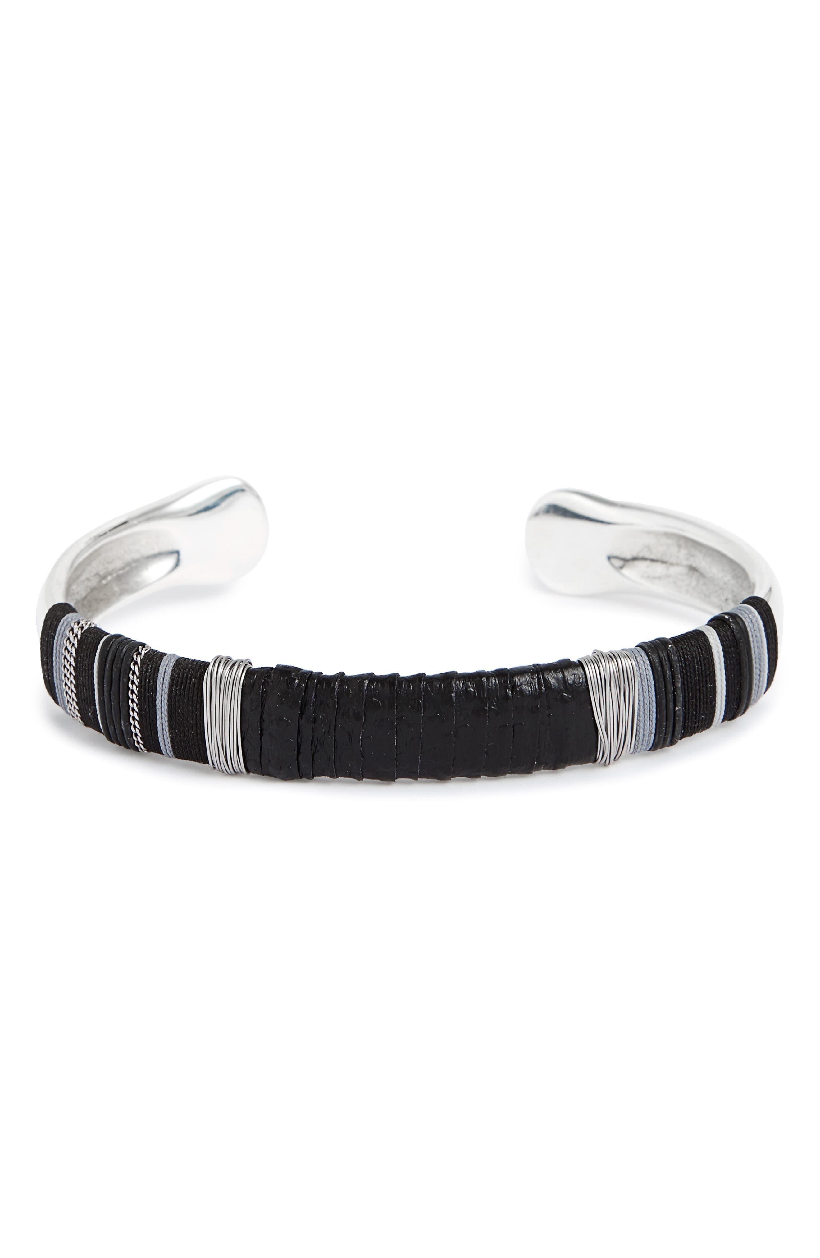 Massai Snakeskin Cuff Bracelet,                         Main,                         color, Black