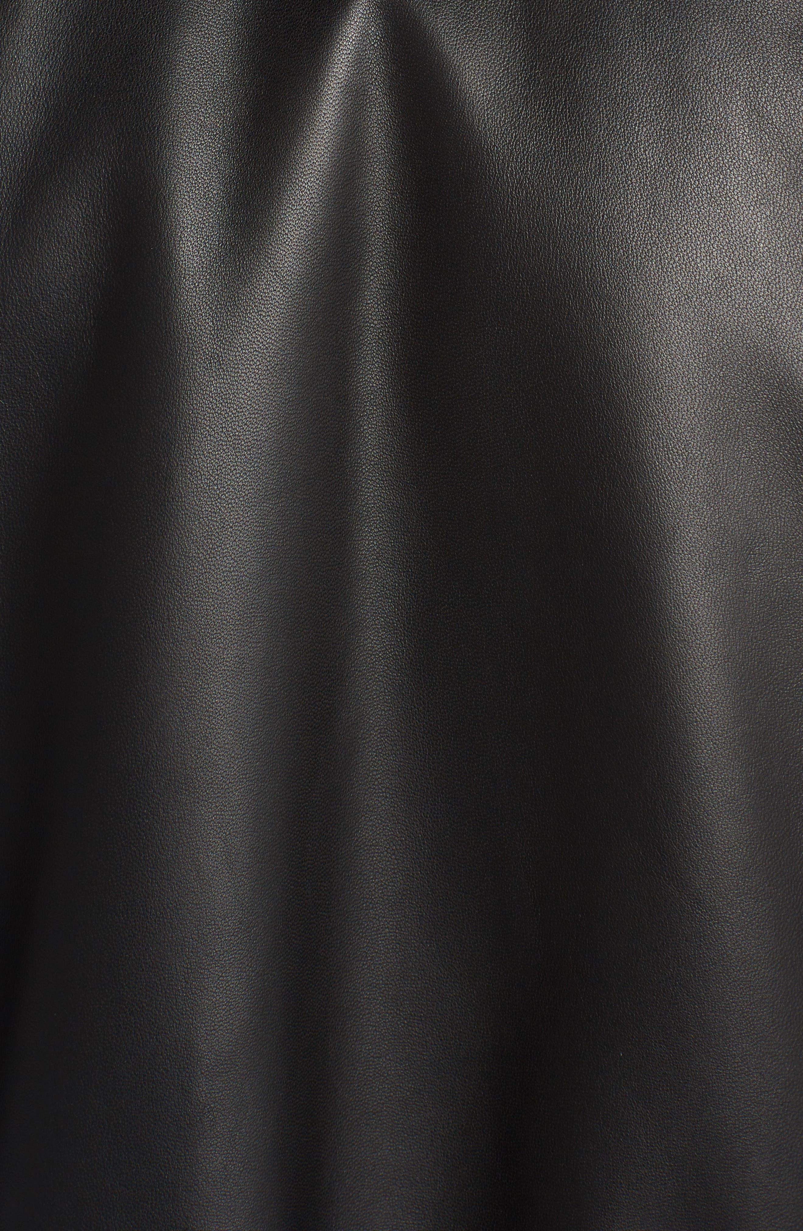 Embellished Bow Leather Bomber,                             Alternate thumbnail 5, color,                             Black