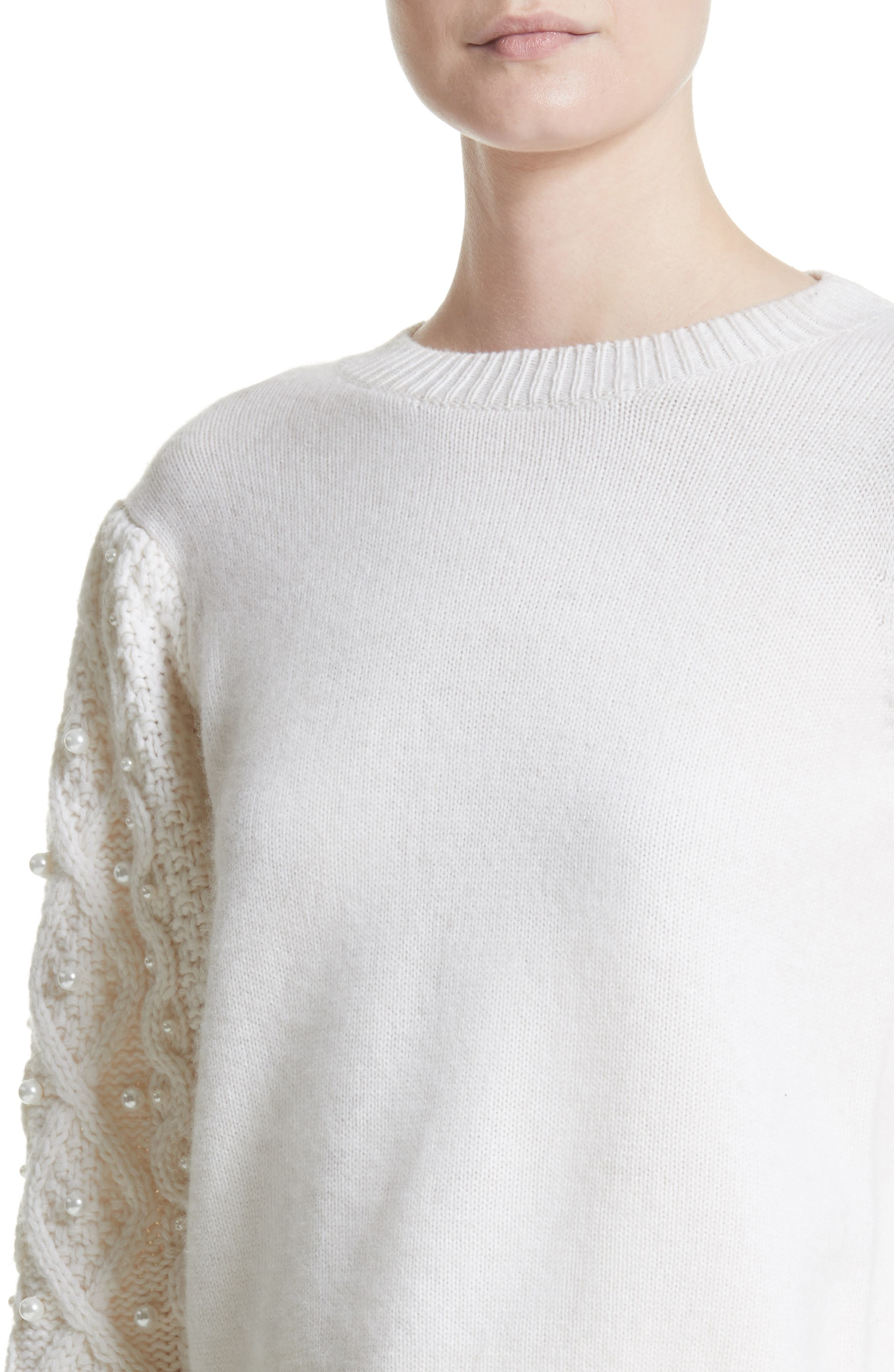 Imitation Pearl Embellished Wool & Cashmere Sweater,                             Alternate thumbnail 4, color,                             Ivory