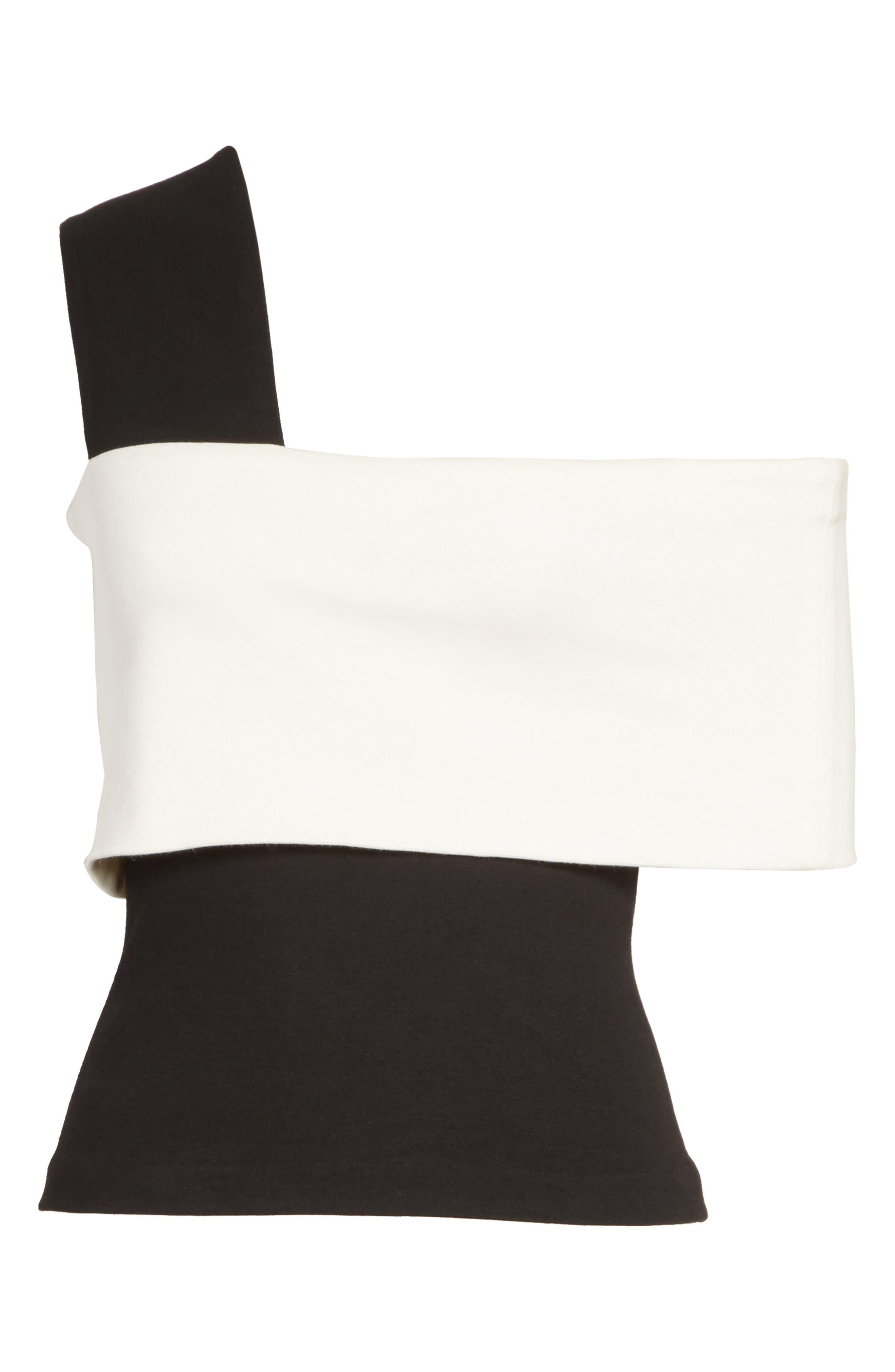 One-Shoulder Jersey Top,                             Alternate thumbnail 7, color,                             Black/ Ivory