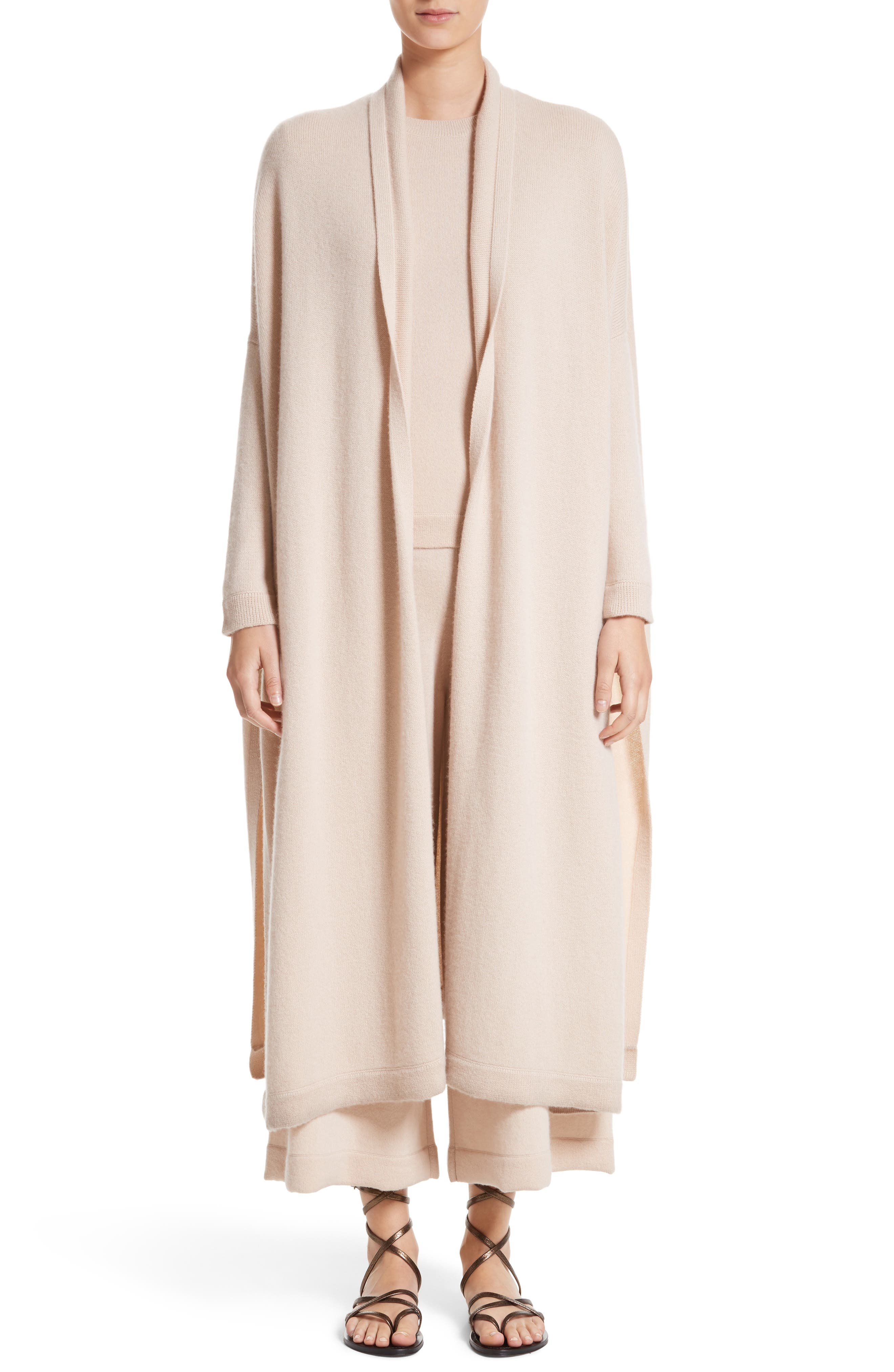 Cashmere Crop Wide Leg Pants,                             Alternate thumbnail 7, color,                             Fawn