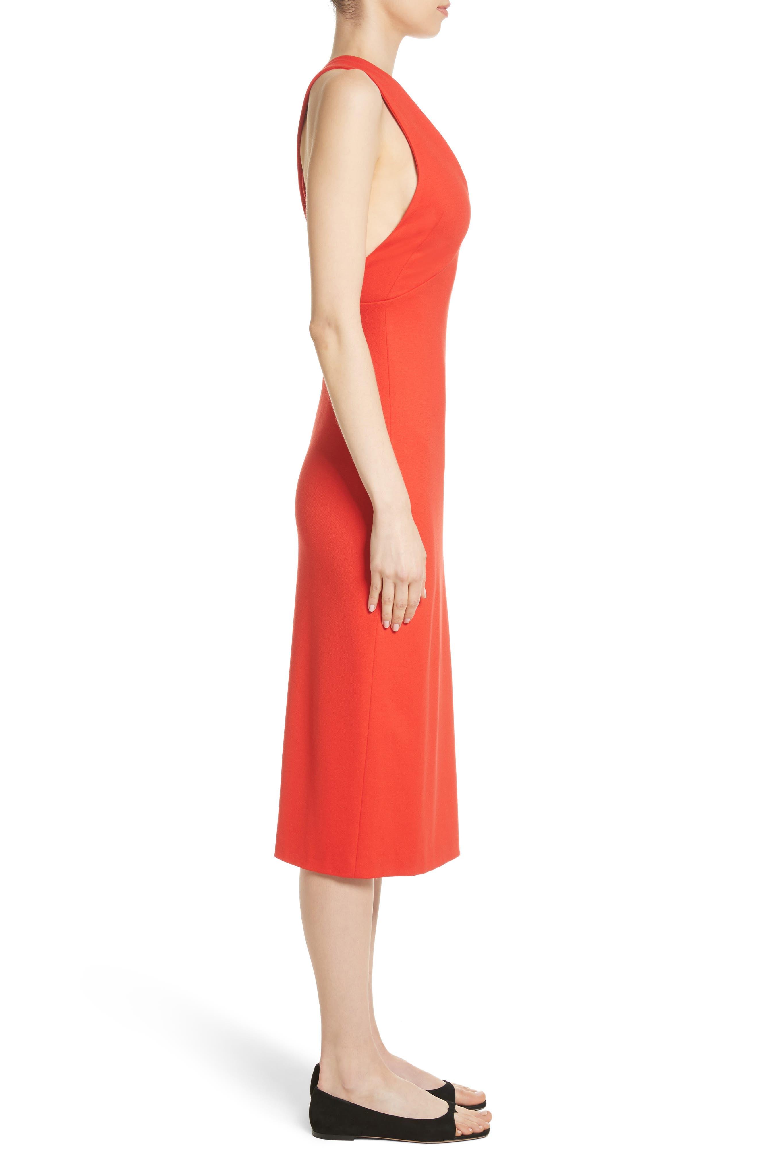 Crossback Sheath Dress,                             Alternate thumbnail 3, color,                             Scarlet