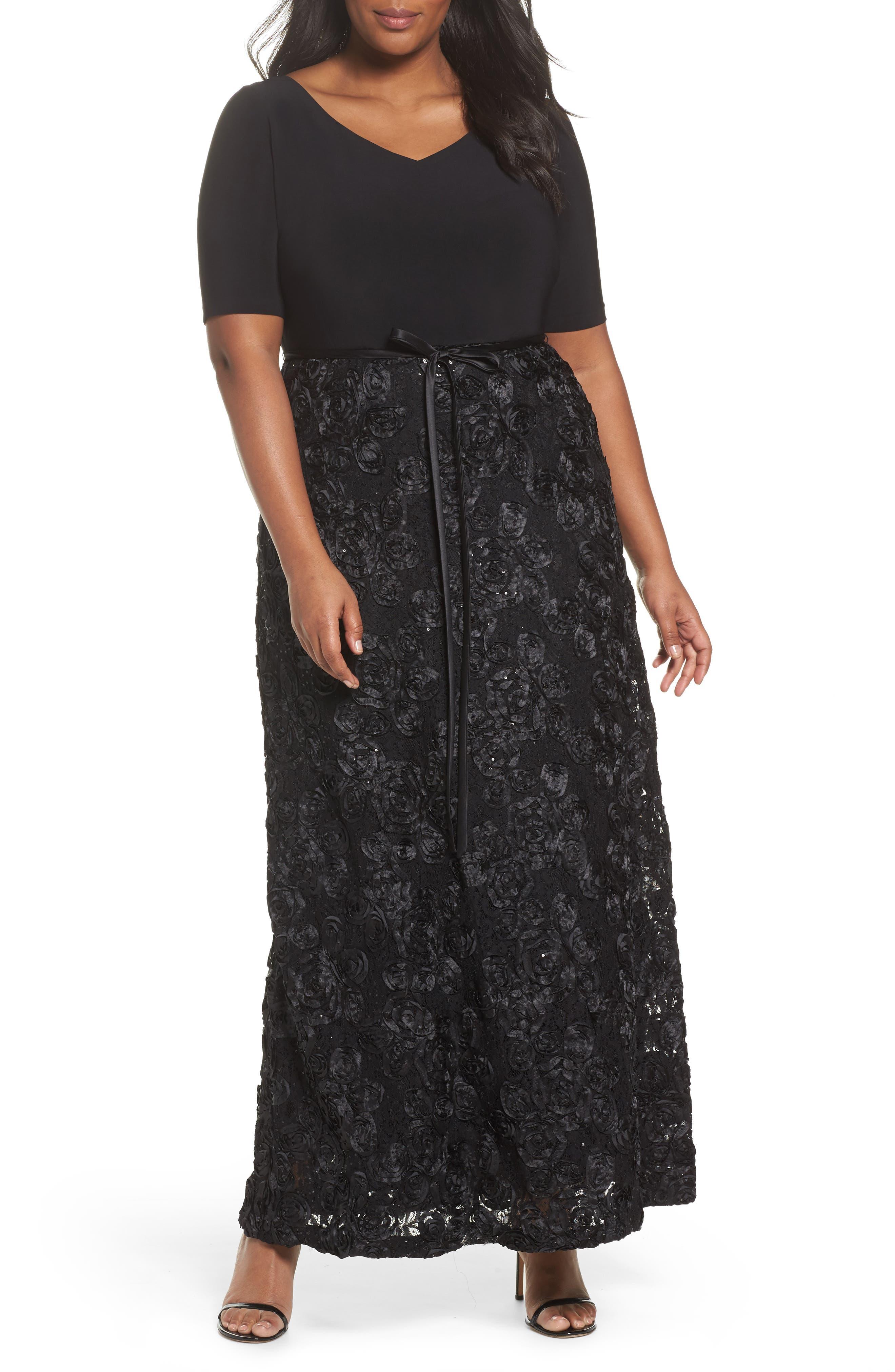 Alex Evenings Tie-Waist A-Line Gown with Satin Rosette Skirt (Plus Size)