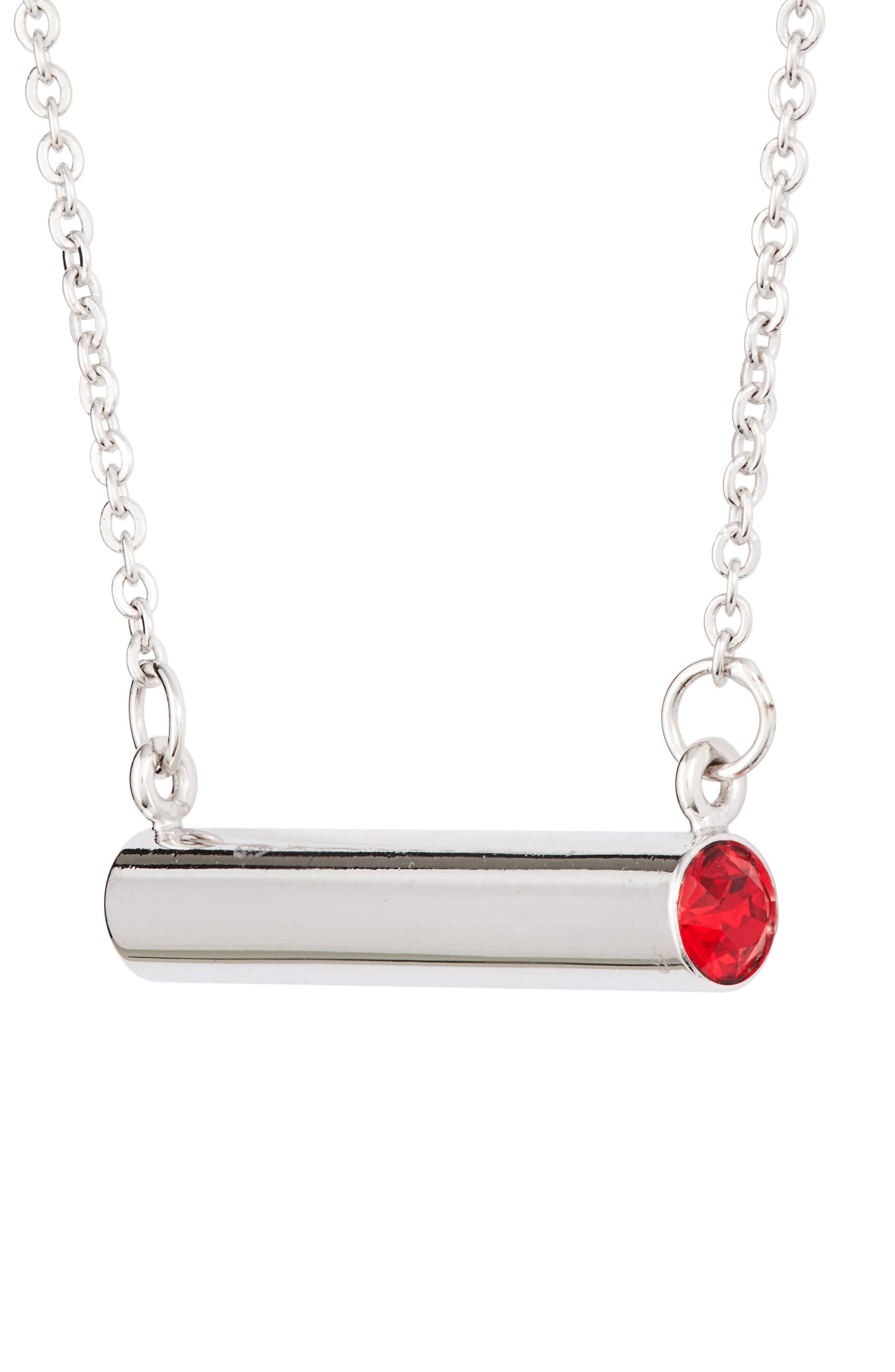 July Crystal Bar Pendant Necklace,                             Alternate thumbnail 3, color,                             Silver