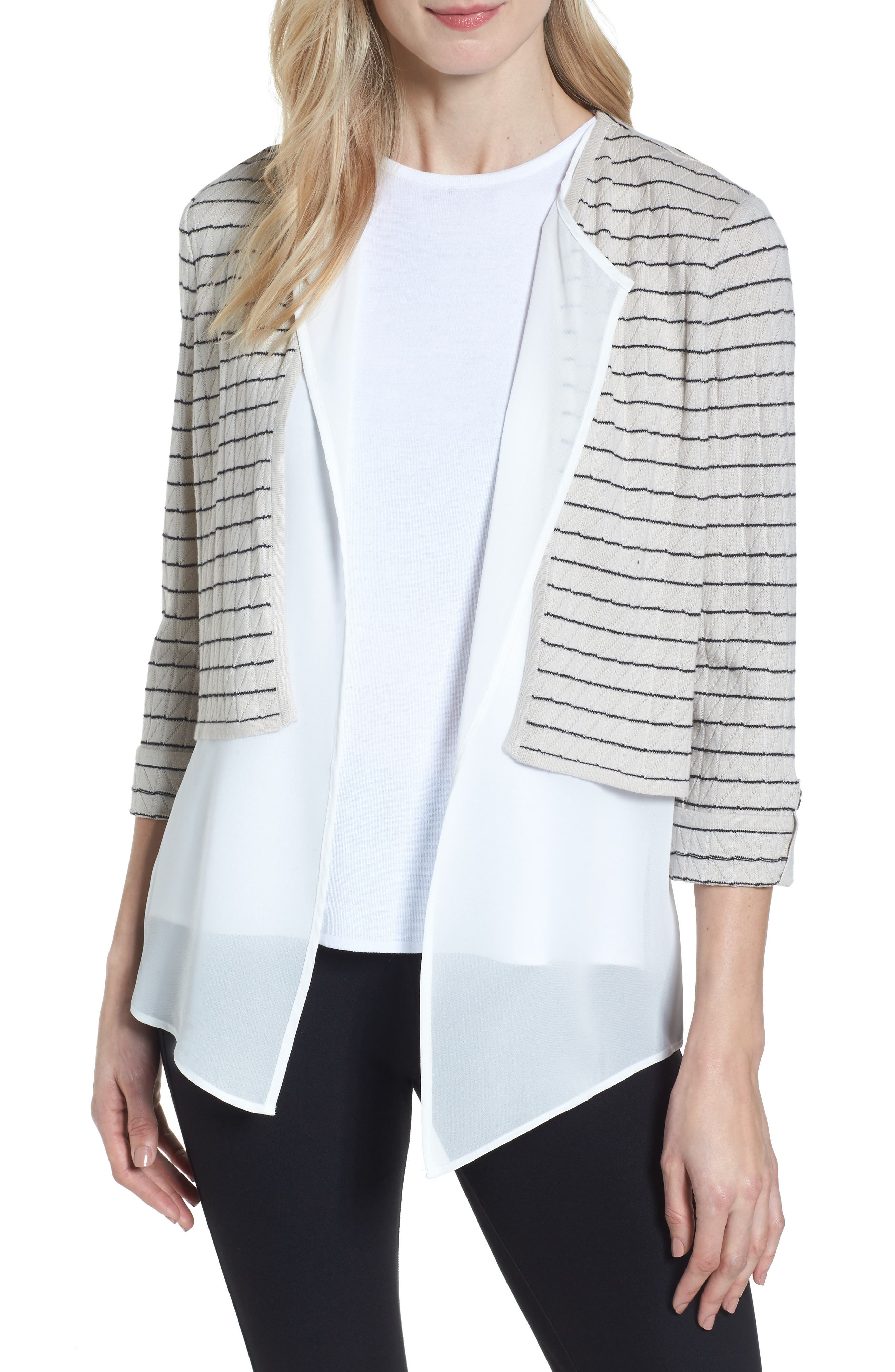 Layered Look Knit Jacket,                             Main thumbnail 1, color,                             Almond Beige/ Black/ White