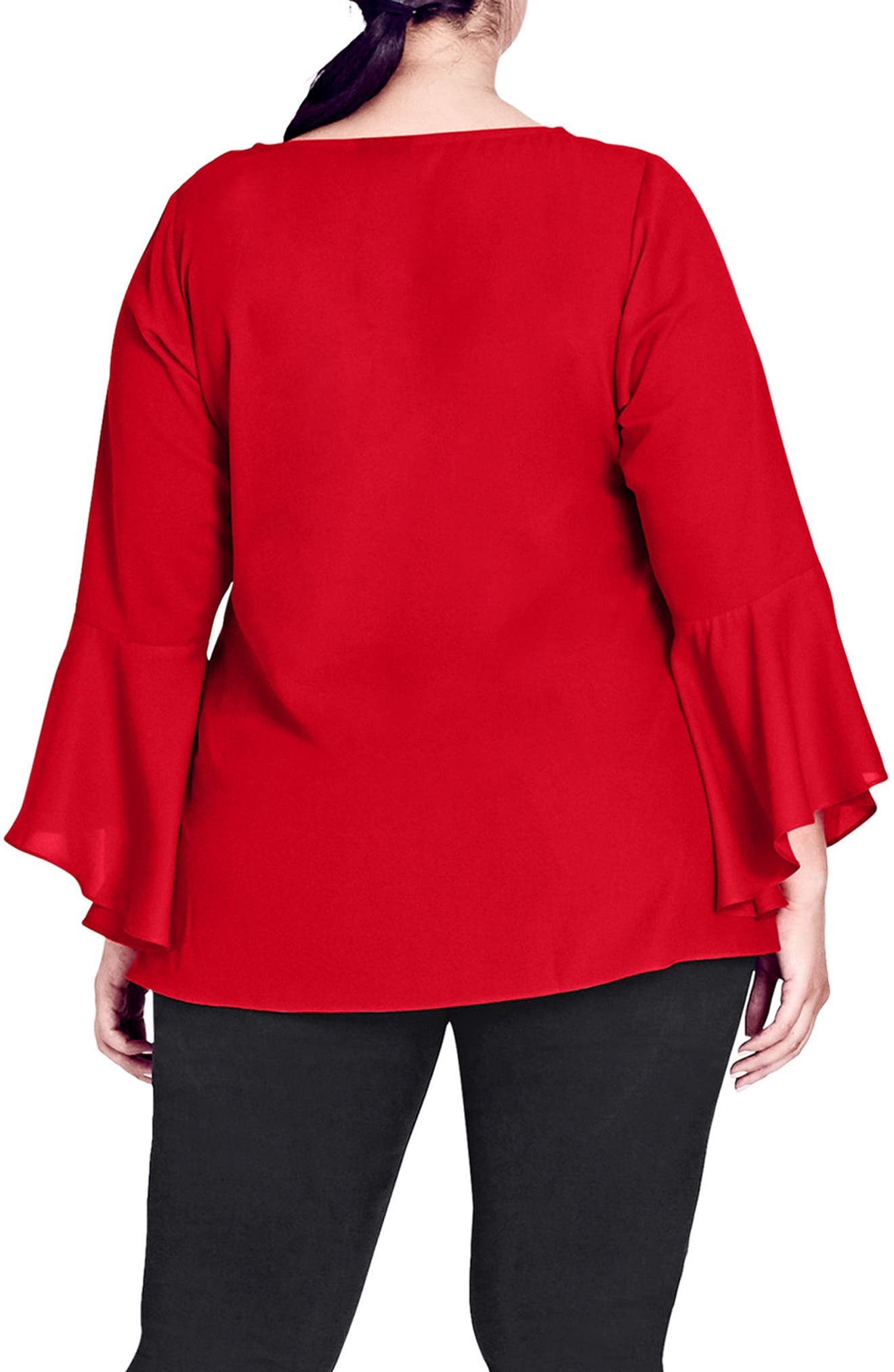 Alternate Image 2  - City Chic Bell Cuff Zip Top (Plus Size)