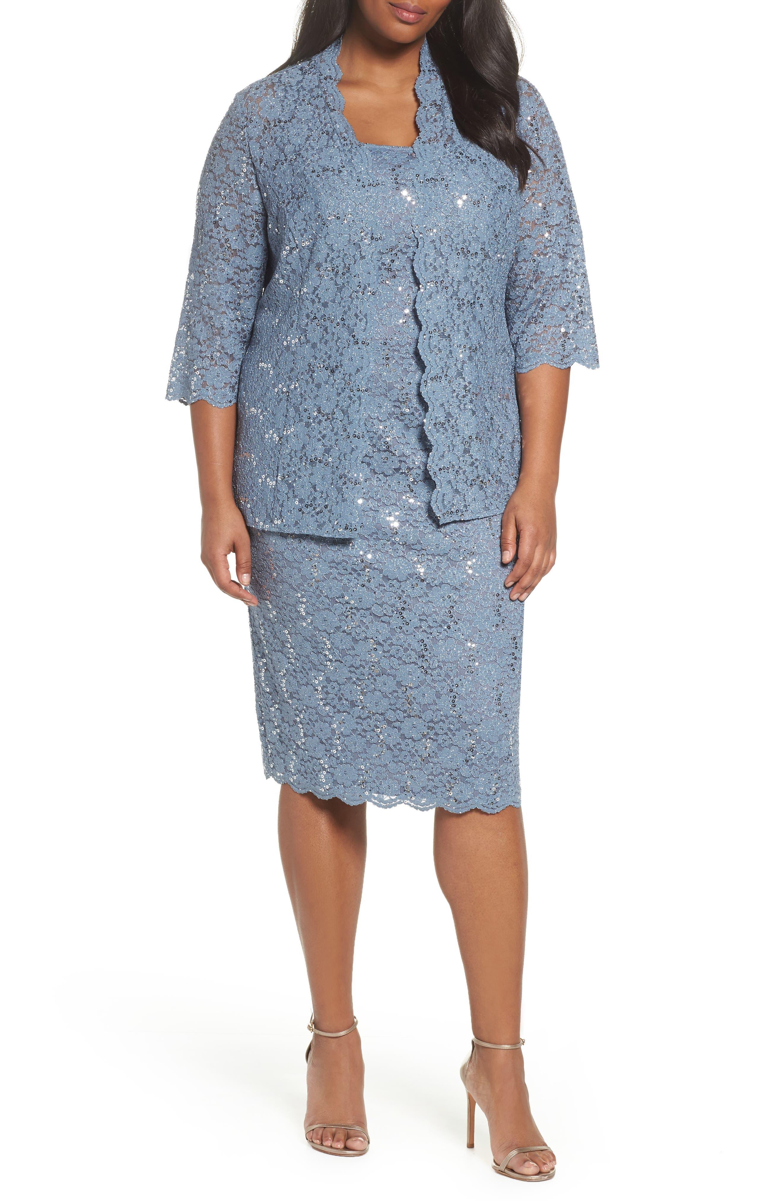 Sequin Lace Jacket Dress,                             Main thumbnail 1, color,                             Steel Blue