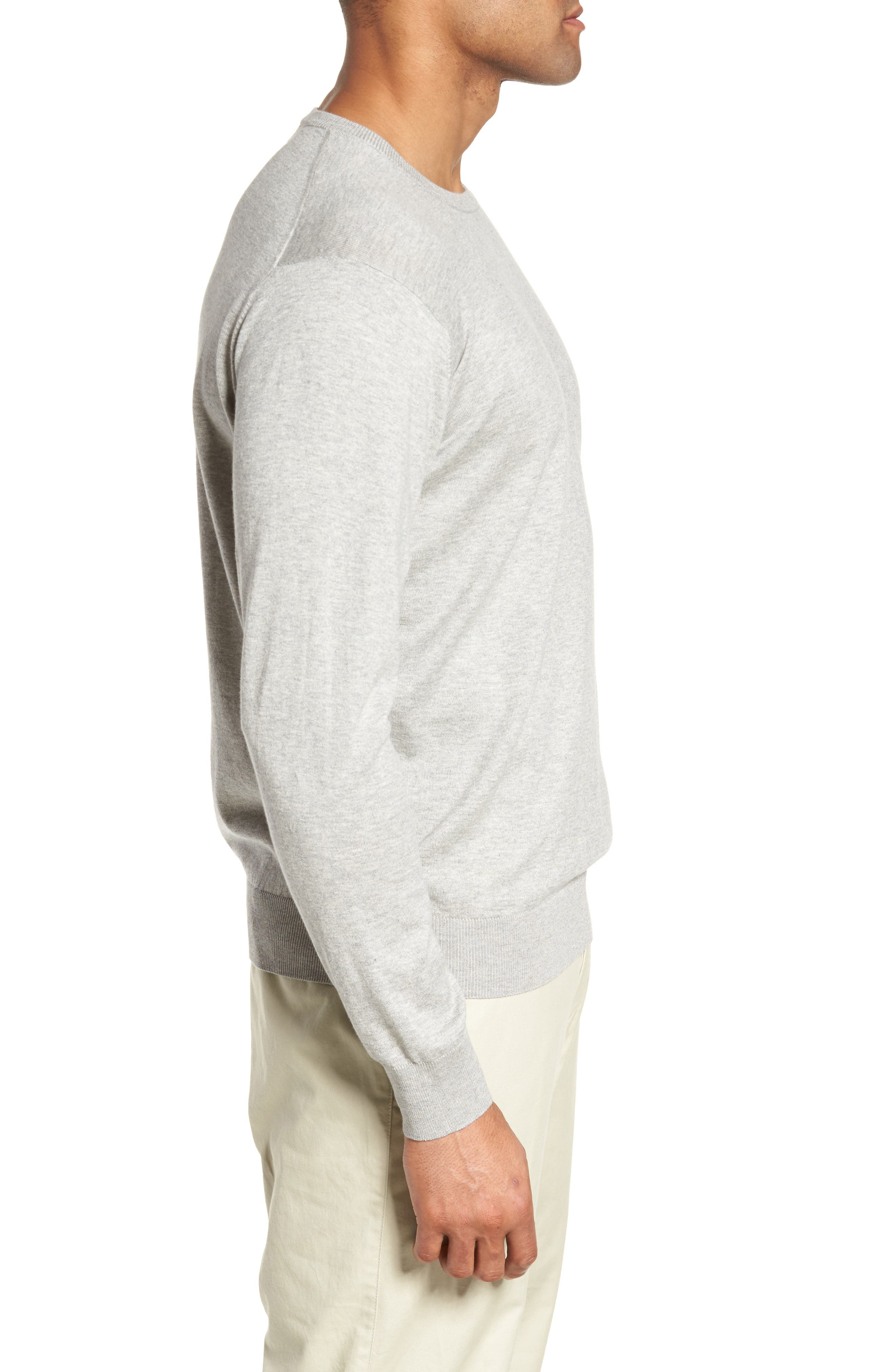 Crown Soft Cotton & Silk Sweater,                             Alternate thumbnail 3, color,                             Grey Sound