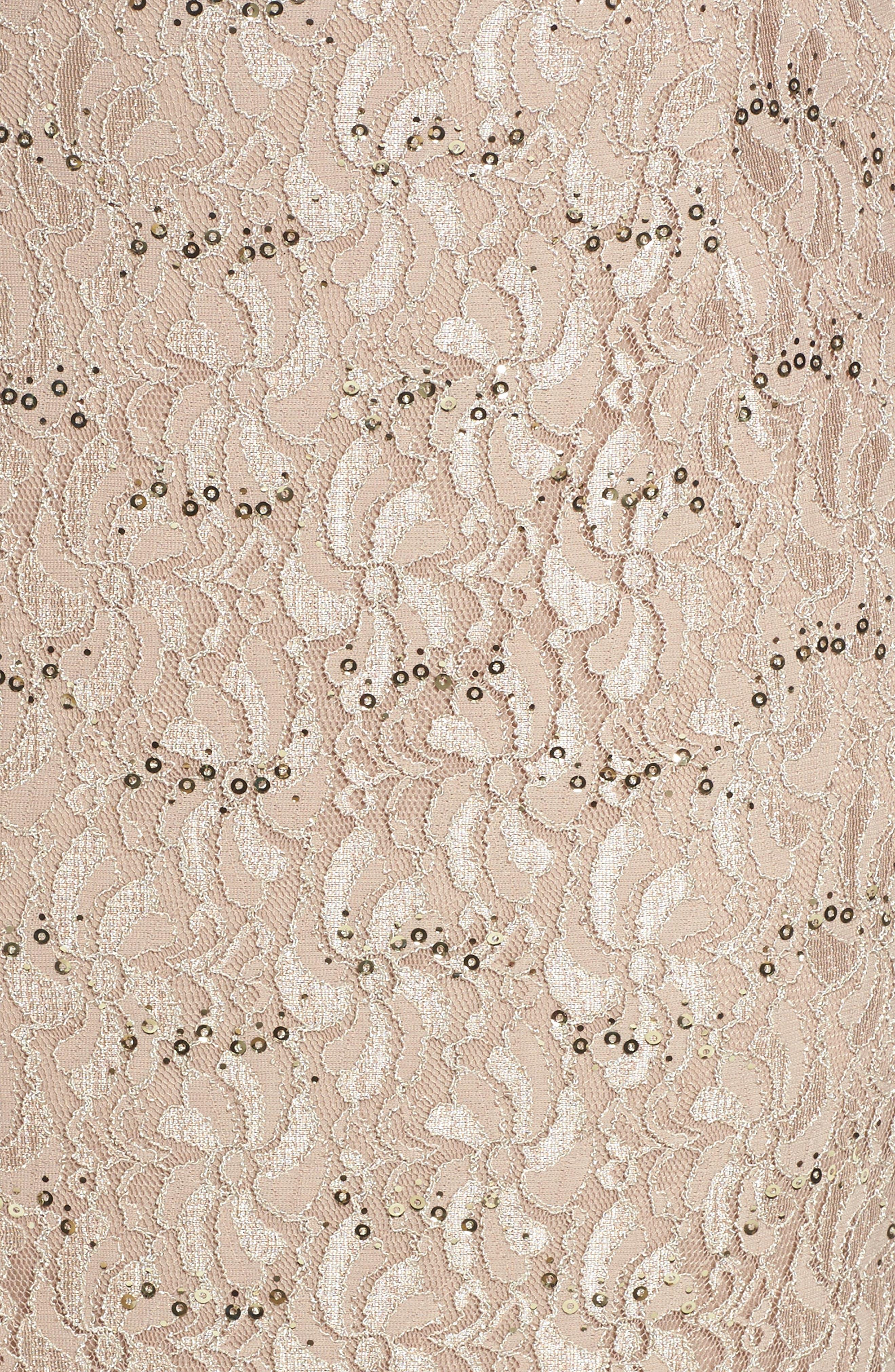 Sequin Lace Gown & Jacket,                             Alternate thumbnail 5, color,                             Champagne