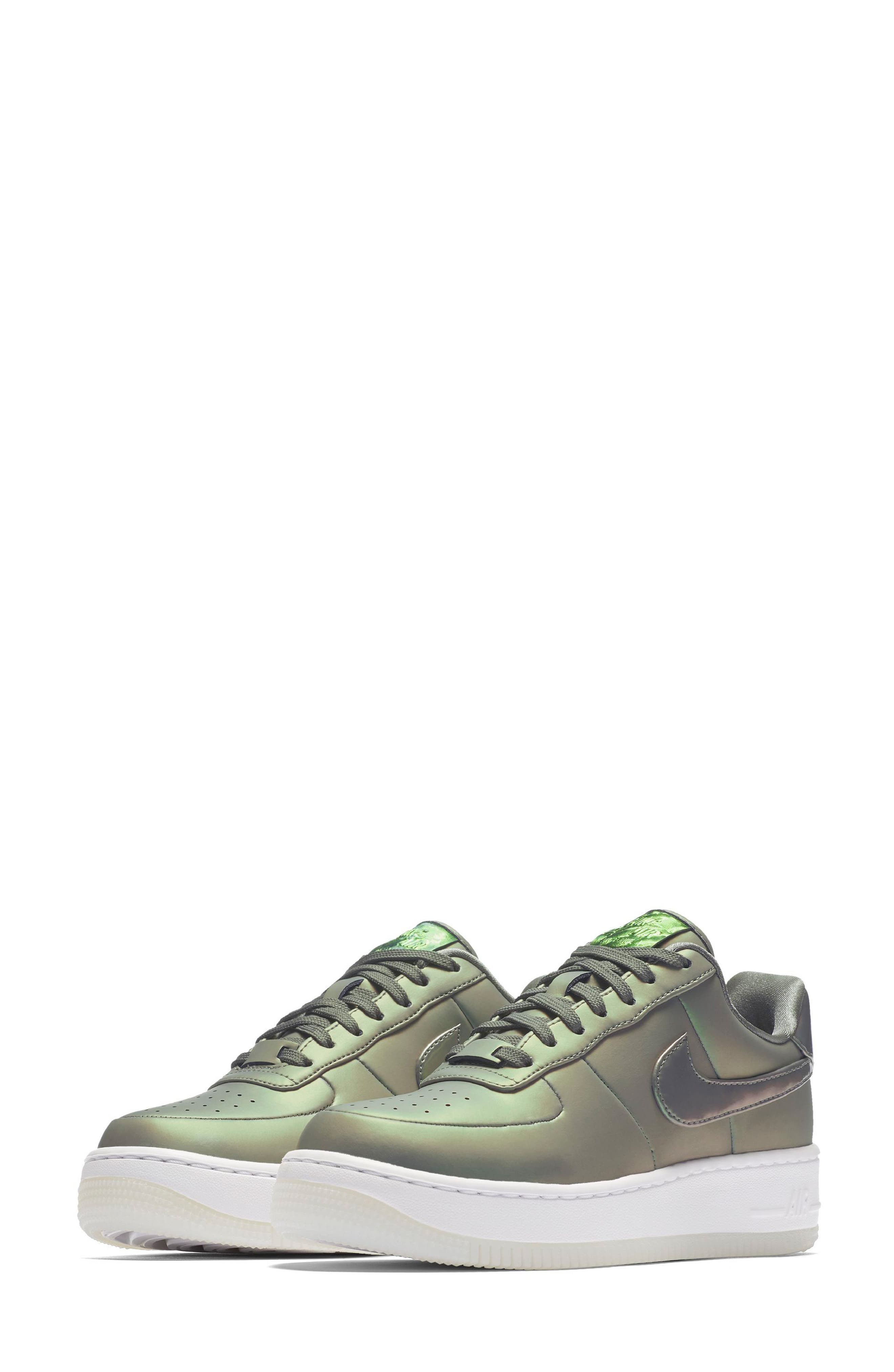 Air Force 1 Upstep Premium LX Shoe,                             Main thumbnail 1, color,                             Dark Stucco/ Stucco/ White