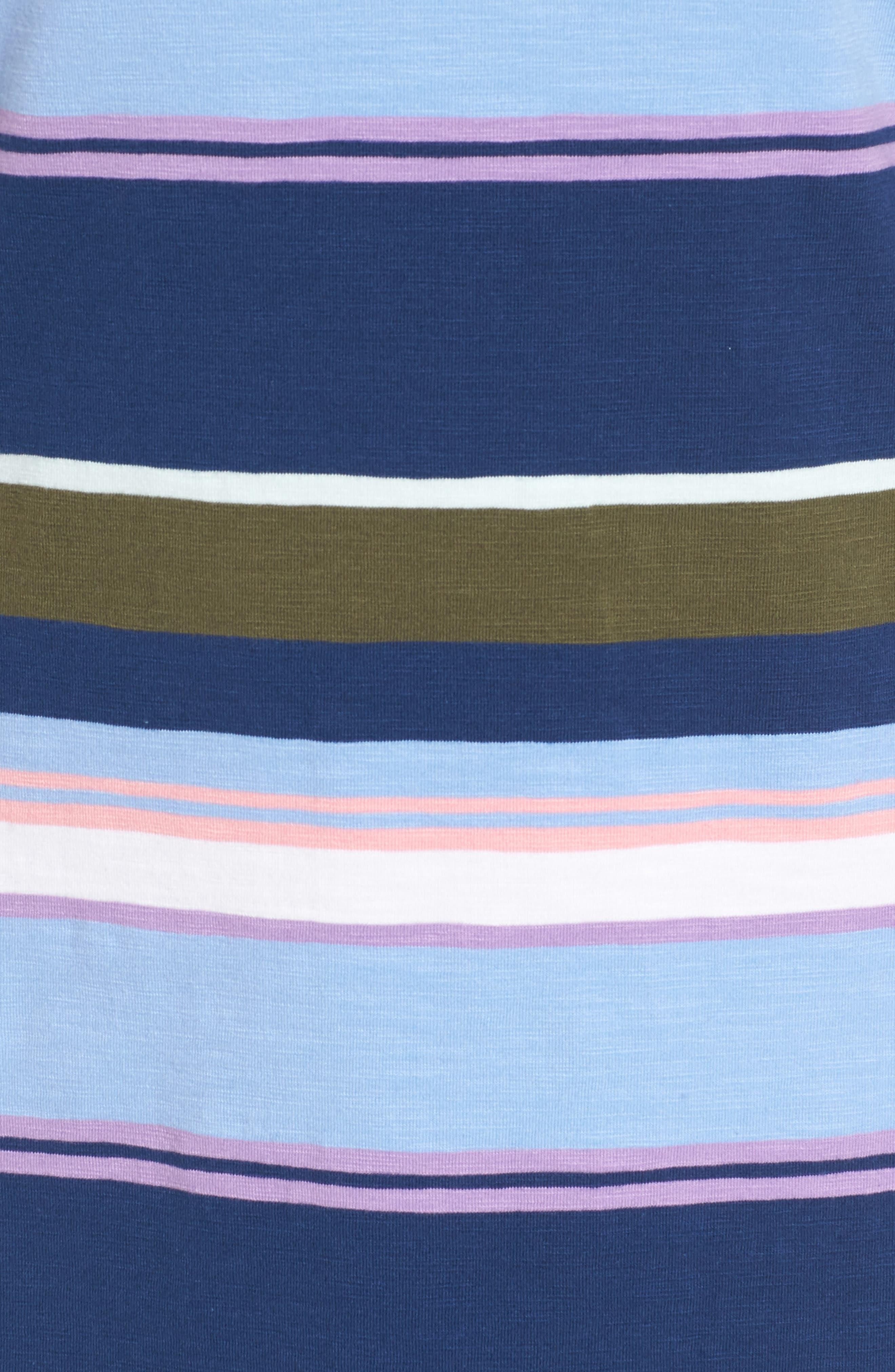 Stripe Scoop Neck Dress,                             Alternate thumbnail 5, color,                             Kingdom Blue