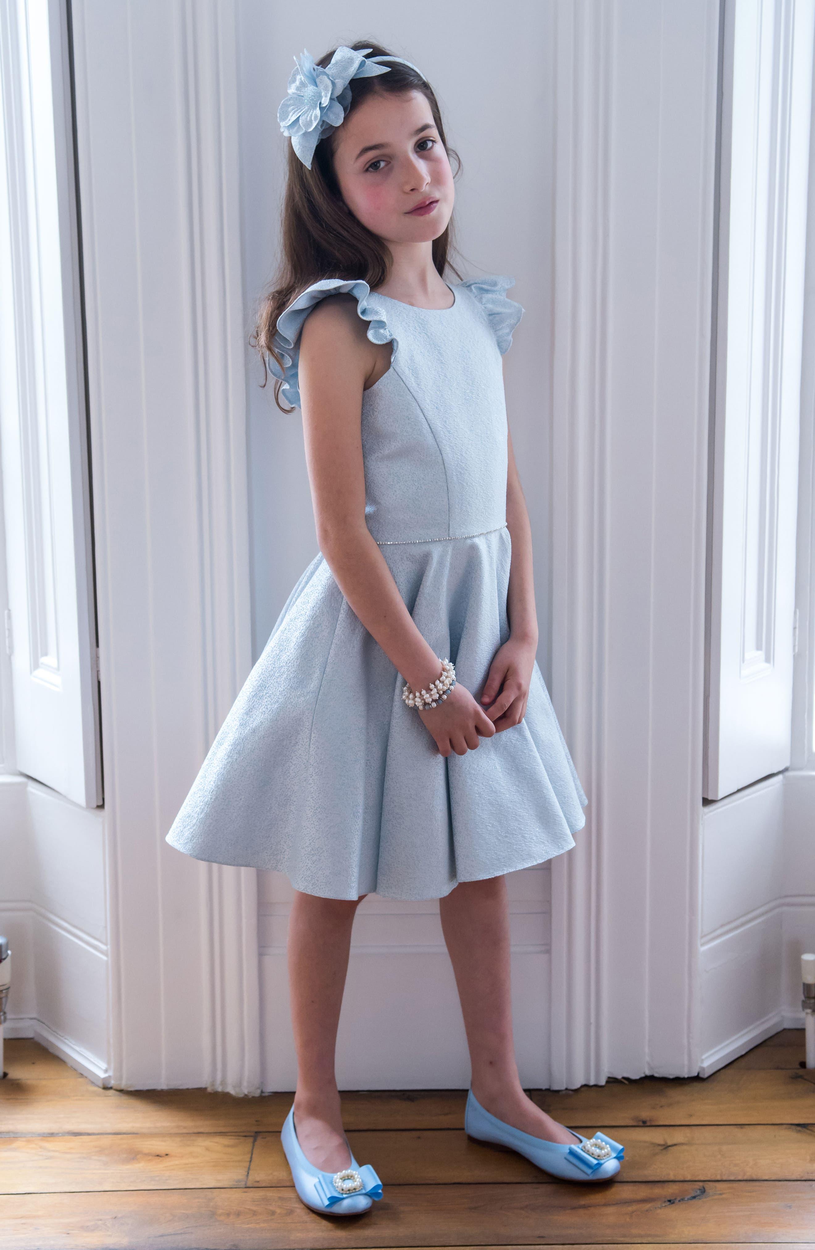 Alternate Image 3  - David Charles Flutter Sleeve Dress (Big Girls)