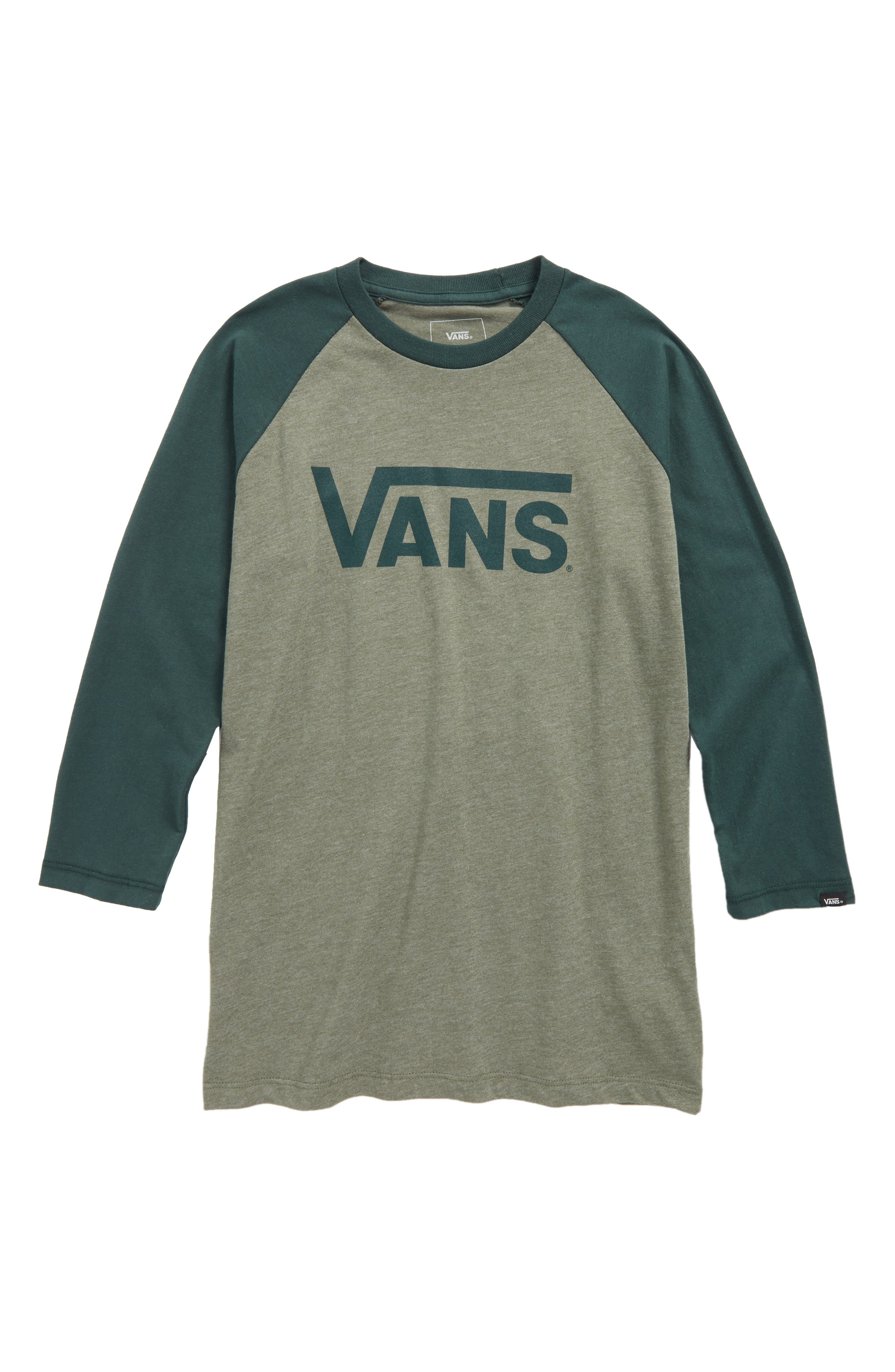 'Classic' Logo Raglan Sleeve T-Shirt,                         Main,                         color, Olive Heather/ Vans Scarab