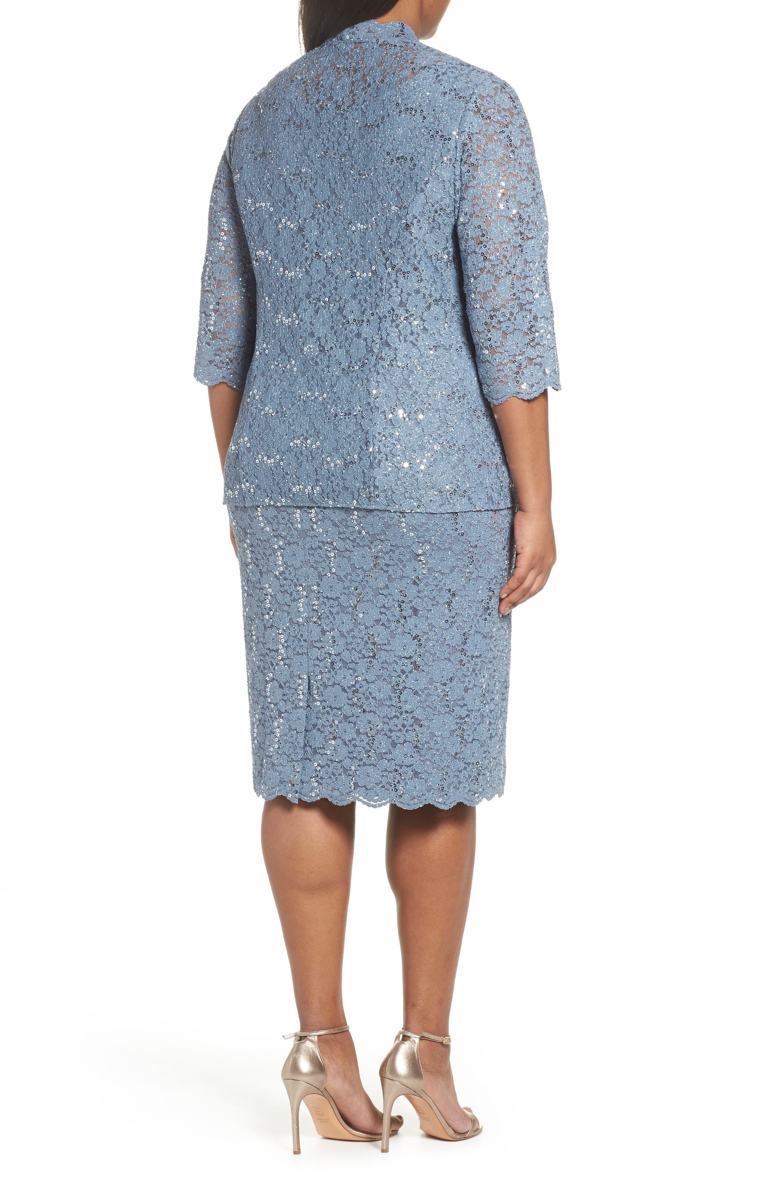 Sequin Lace Jacket Dress,                             Alternate thumbnail 3, color,                             Steel Blue