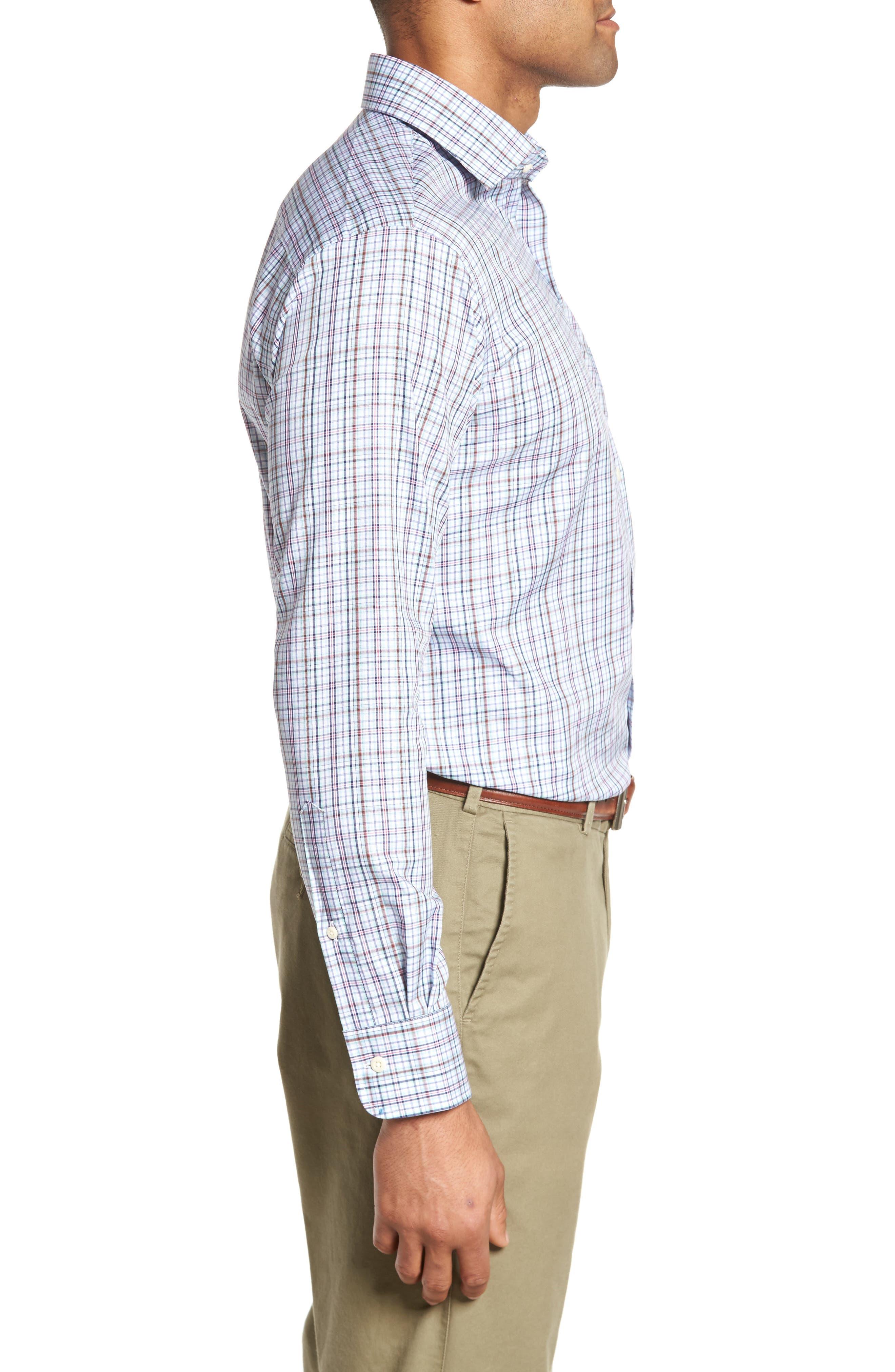 Crown Ease Tango Pinwheel Regular Fit Sport Shirt,                             Alternate thumbnail 3, color,                             Tar Heel Blue