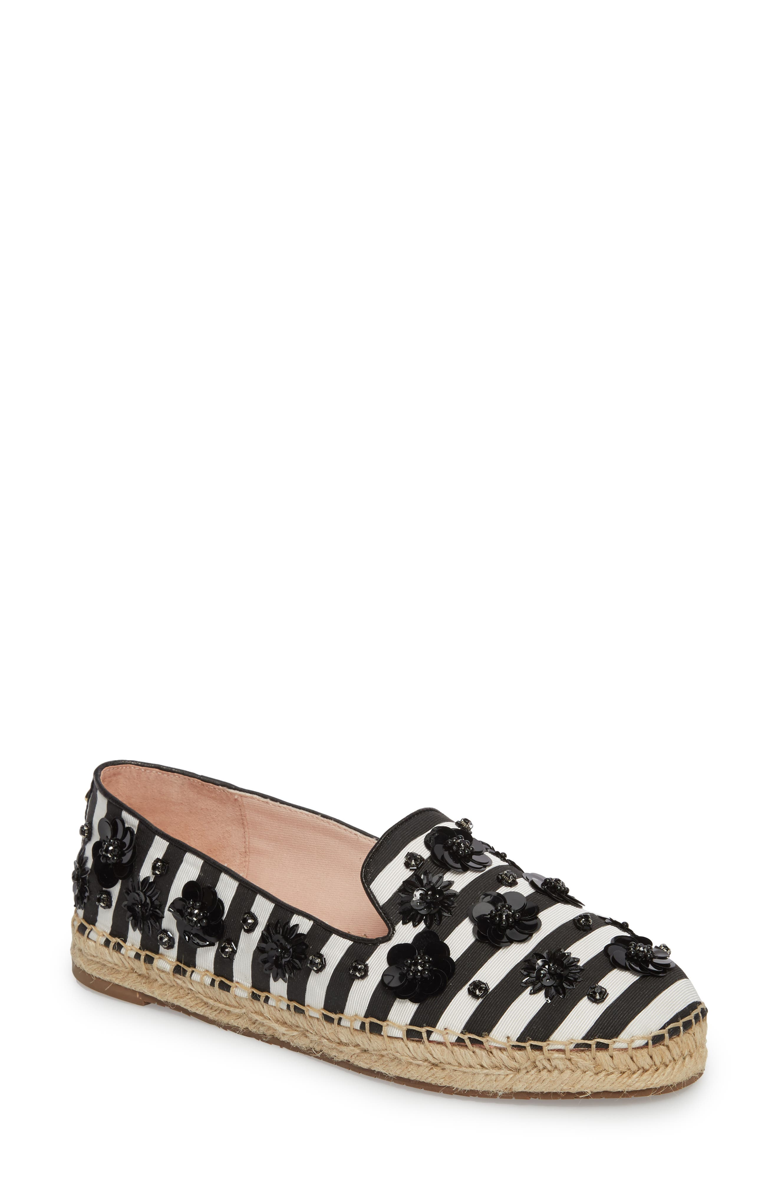 leigh embellished espadrille flat,                             Main thumbnail 1, color,                             Black/ White Striped