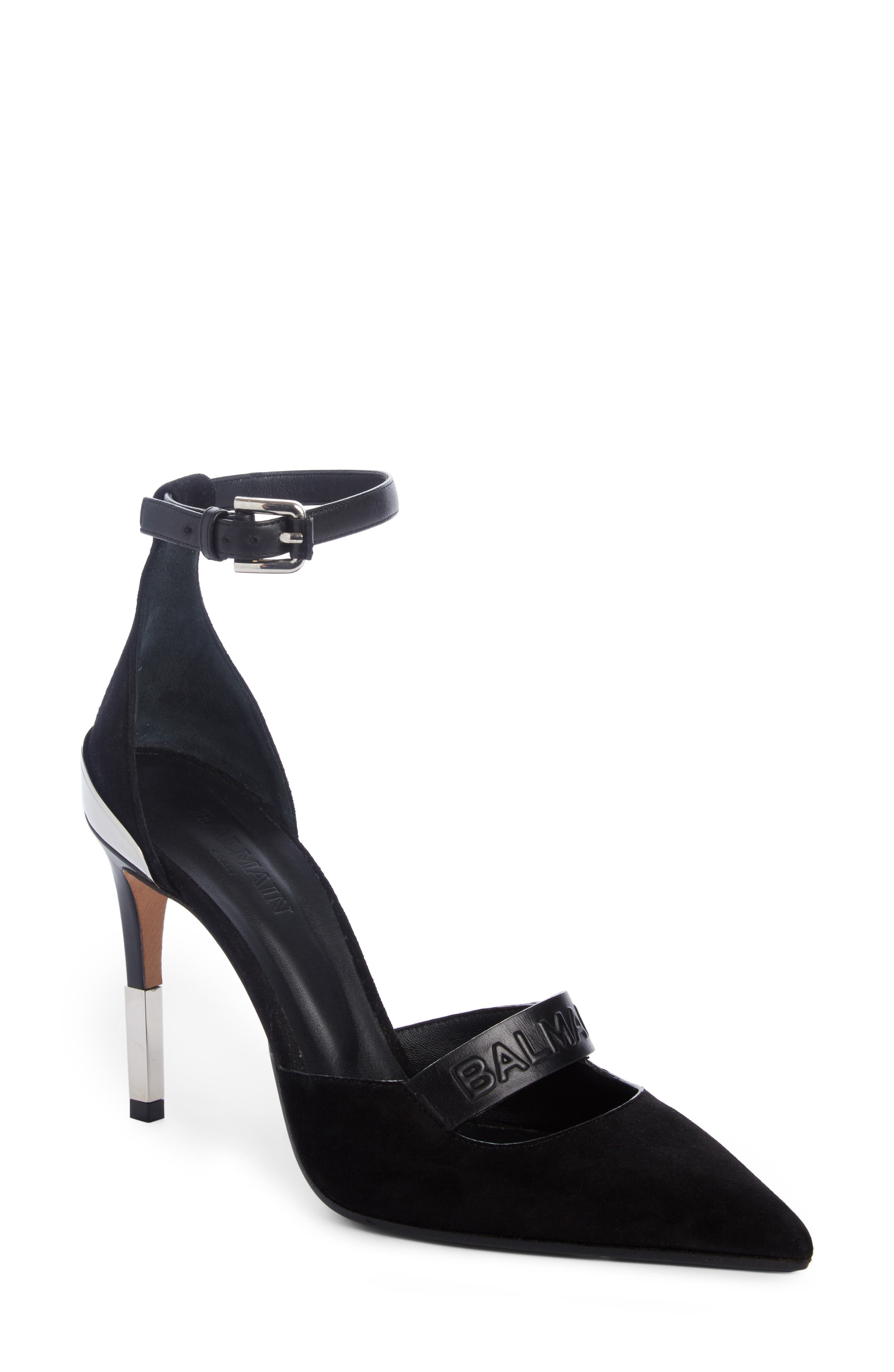 Alternate Image 1 Selected - Balmain Chance Ankle Strap Pointy Toe Pump (Women)
