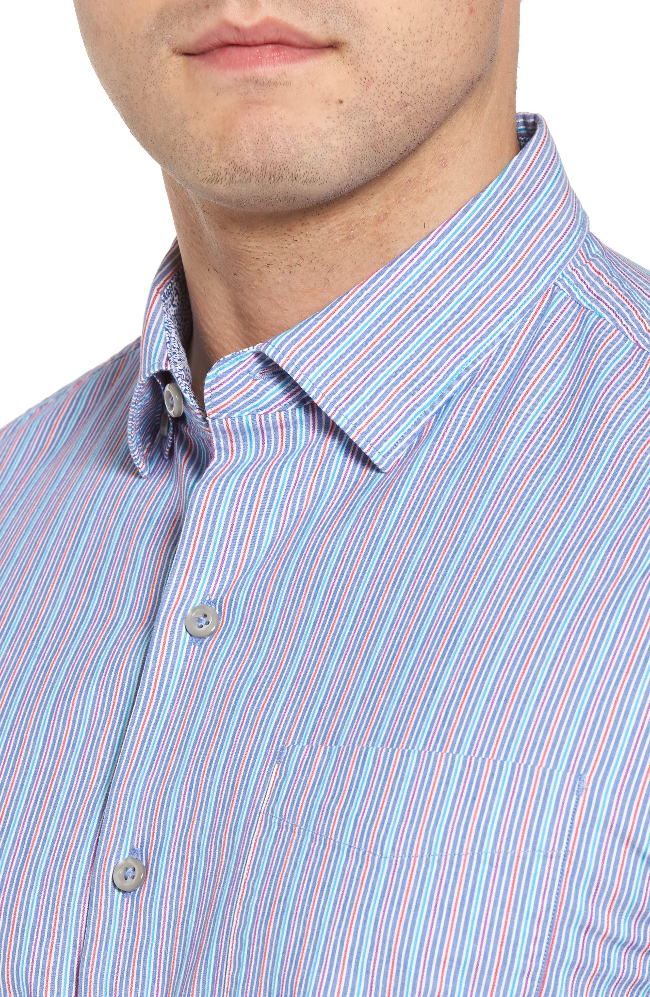Tallahassee Cotton & Silk Blend Sport Shirt,                             Alternate thumbnail 4, color,                             Cobalt Sea
