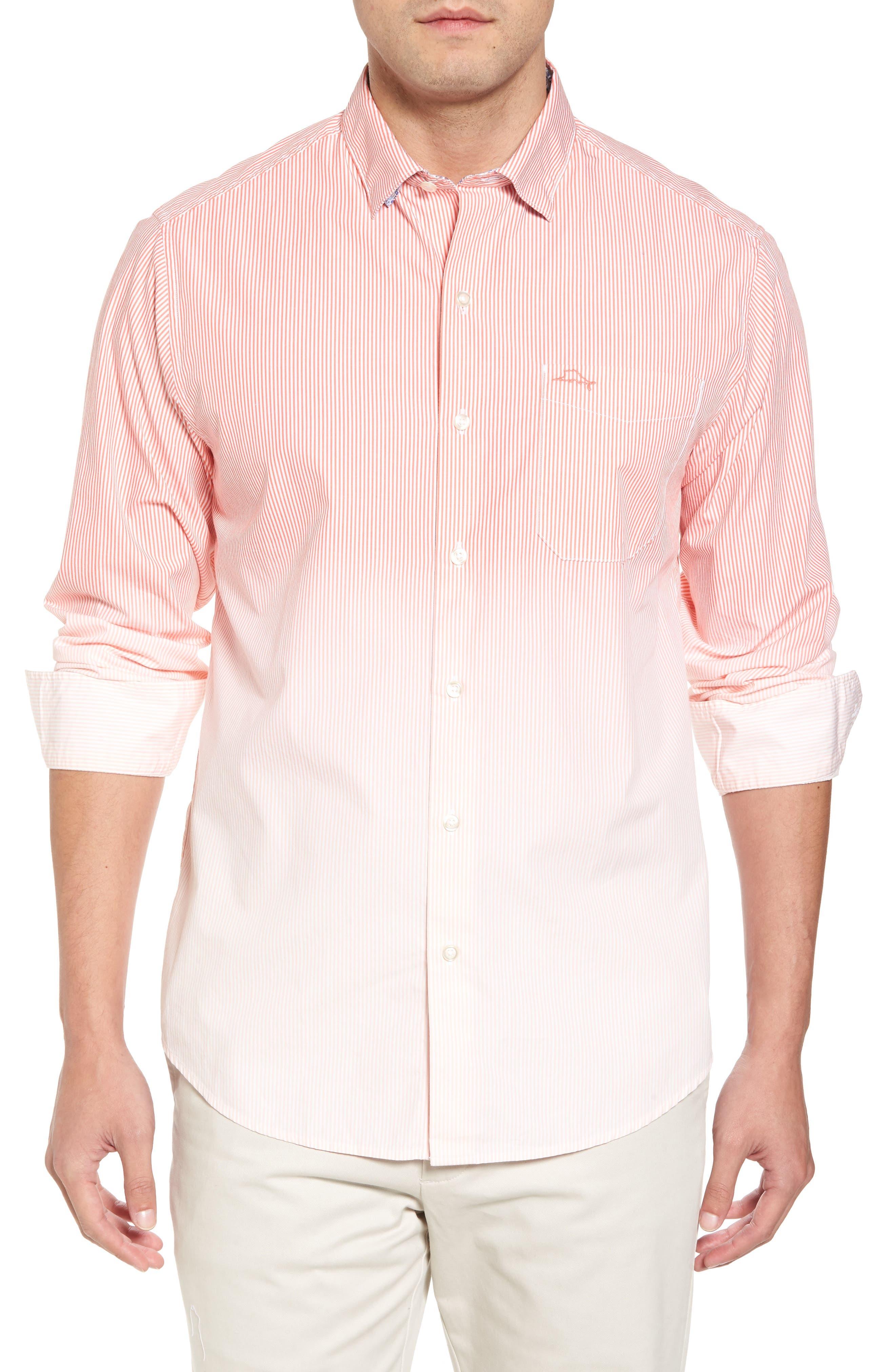 Fadeaway Beach Sport Shirt,                             Main thumbnail 1, color,                             Burnt Coral
