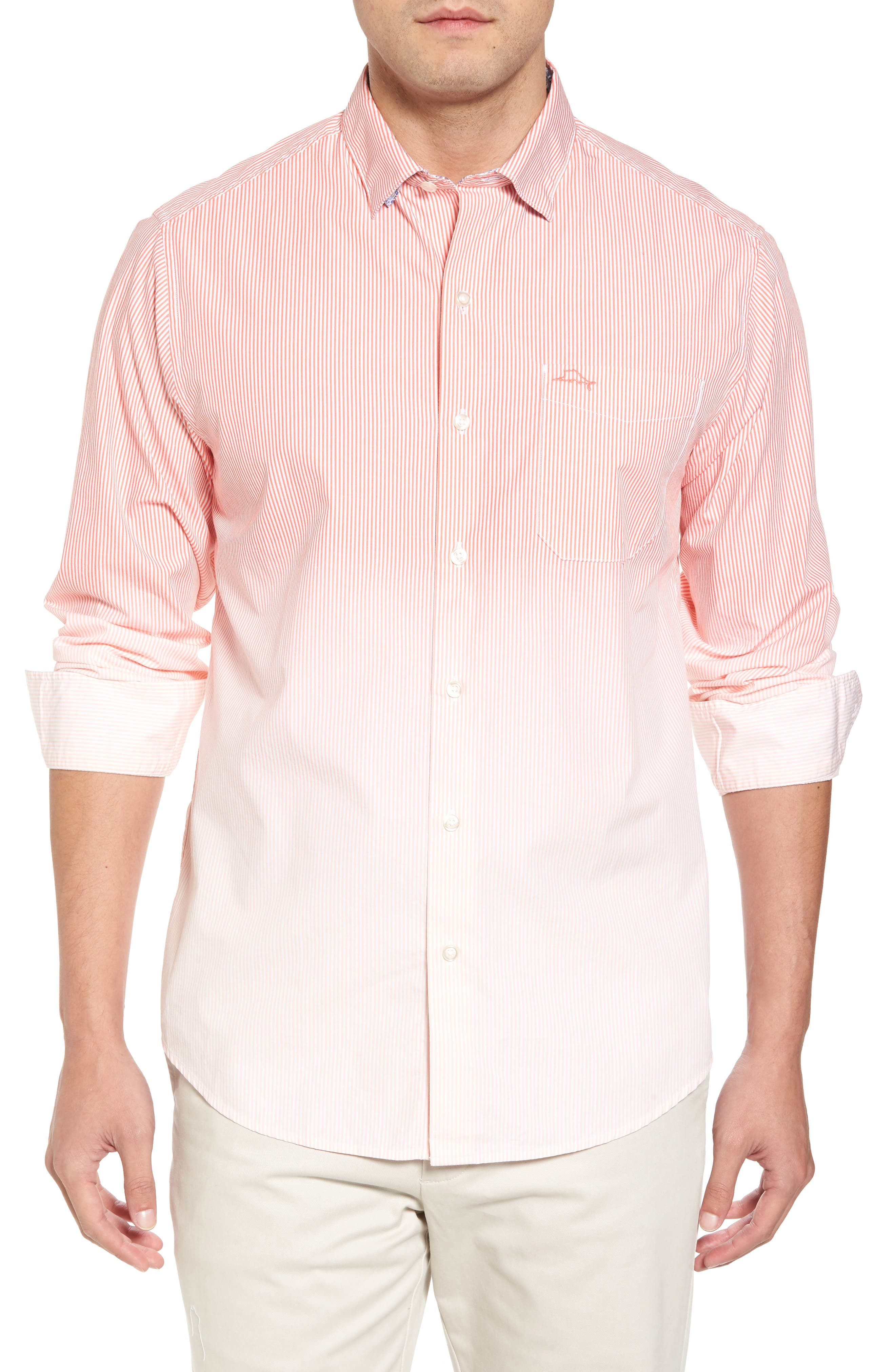 Fadeaway Beach Sport Shirt,                         Main,                         color, Burnt Coral