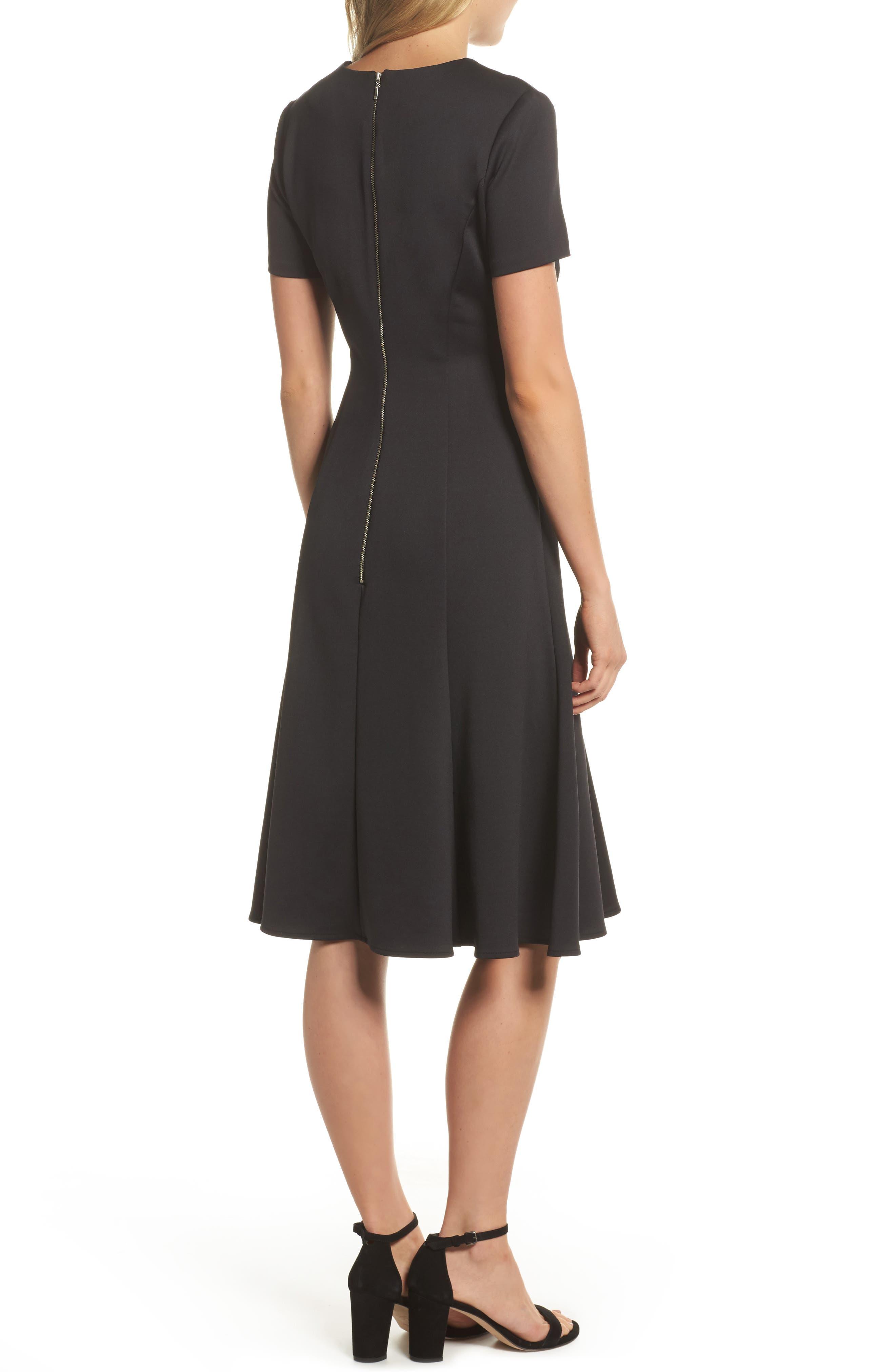 Midi Bell Dress,                             Alternate thumbnail 2, color,                             Black