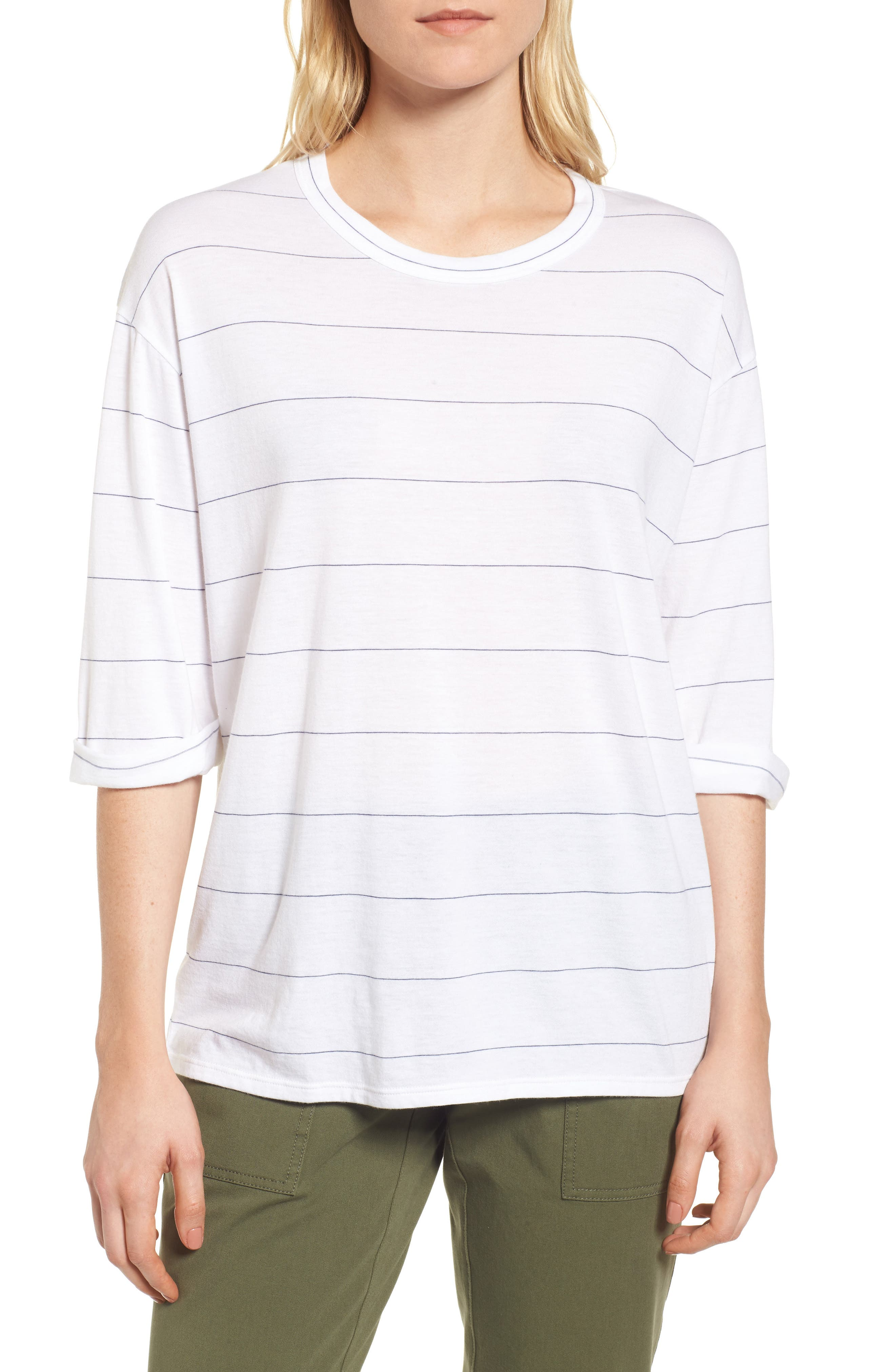 Stripe Relaxed Tee,                         Main,                         color, White- Navy Stripe