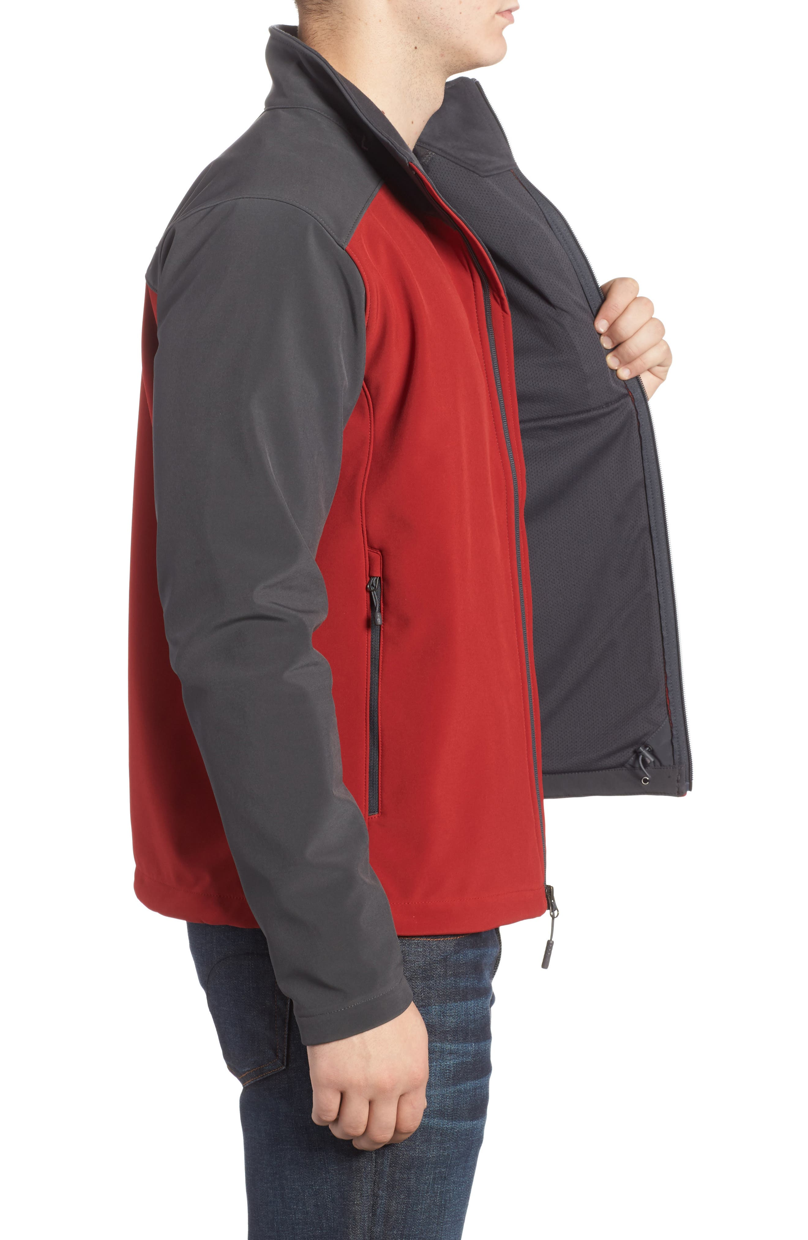 'Apex Bionic 2' Windproof & Water Resistant Soft Shell Jacket,                             Alternate thumbnail 3, color,                             Cardinal Red/ Asphalt Grey