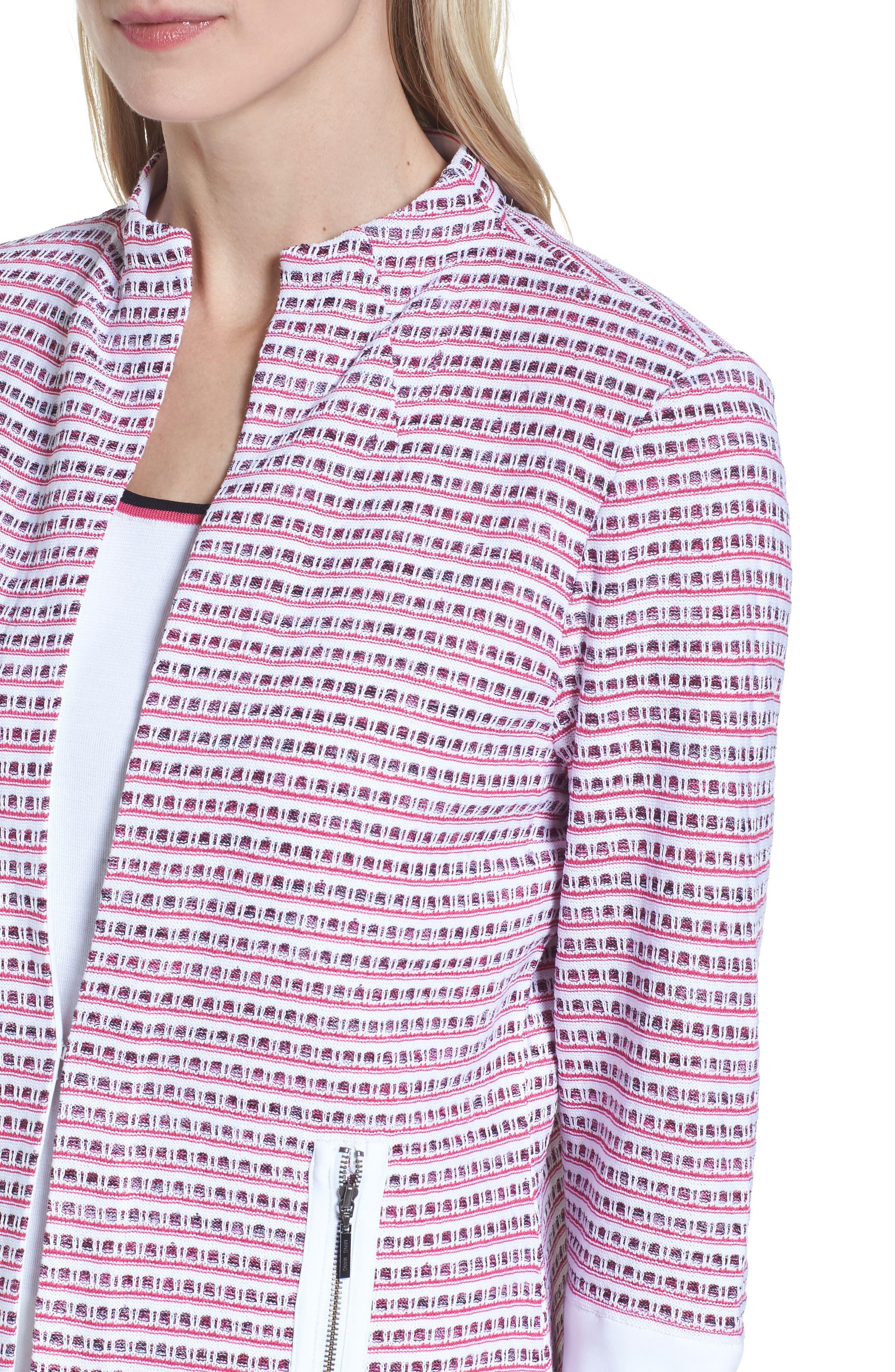 Tweed Jacket,                             Alternate thumbnail 4, color,                             White/ Black/ Dahlia