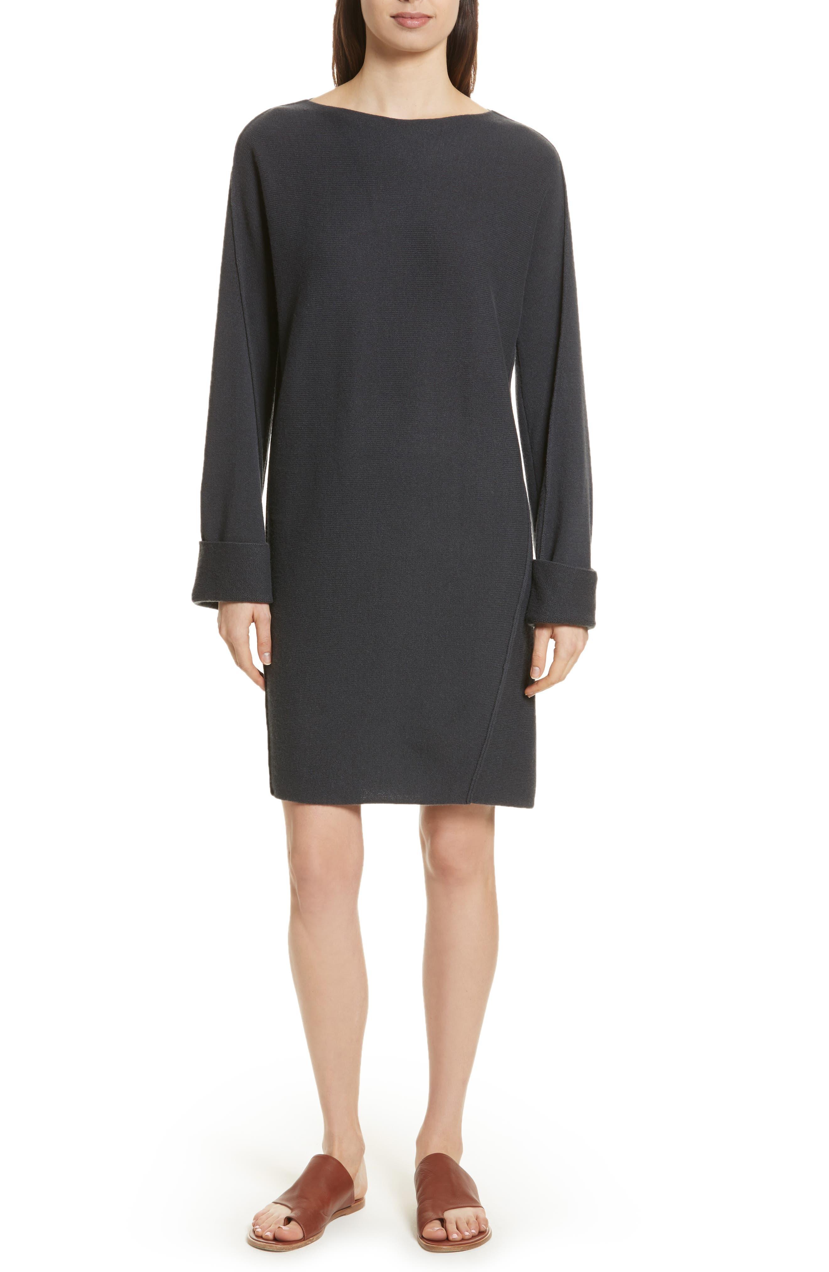 Twisted Seam Wool & Cashmere Sweater Dress,                         Main,                         color, Slate