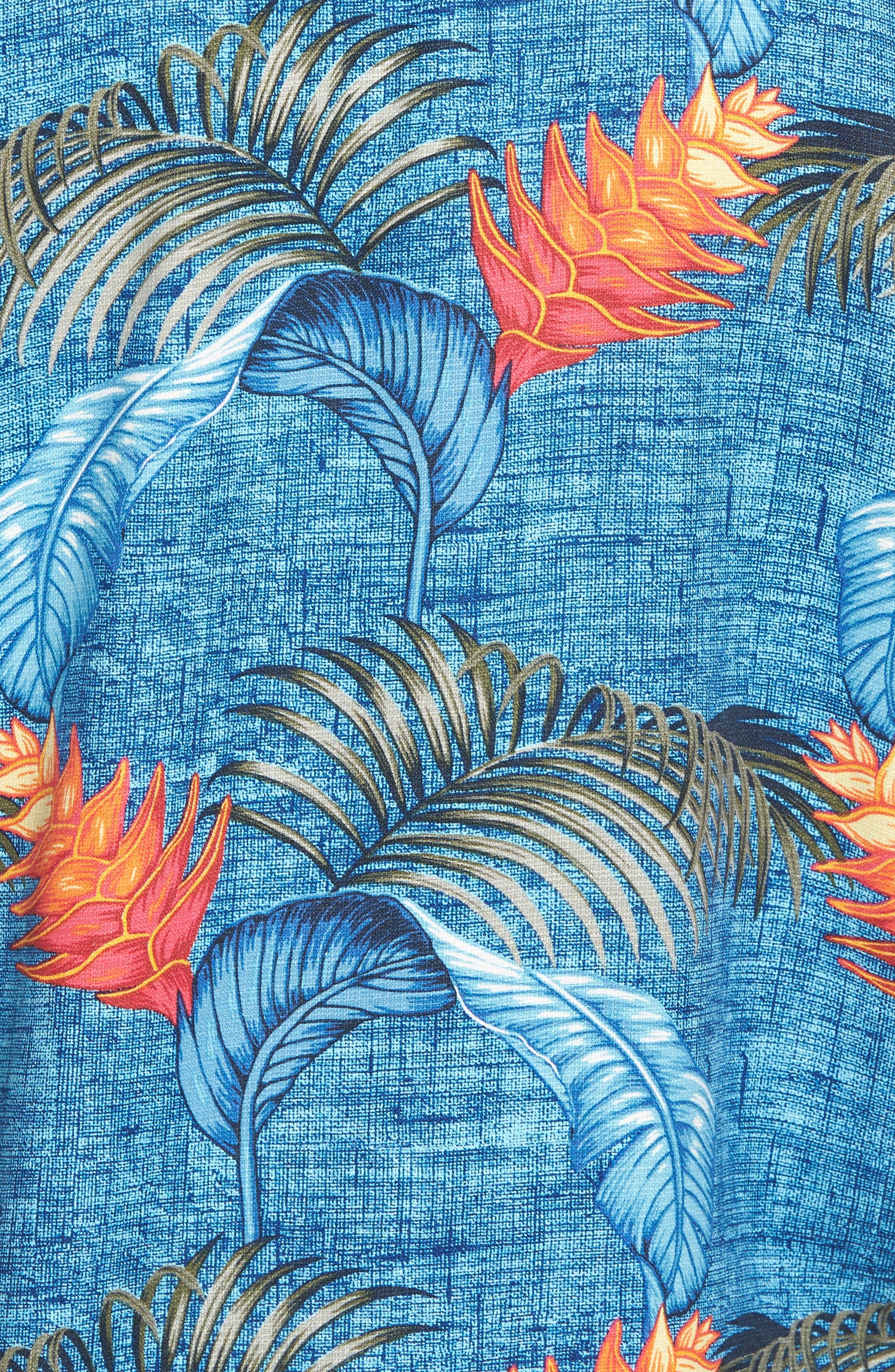 Boca Bouquet Silk Camp Shirt,                             Alternate thumbnail 5, color,                             Kingdom Blue