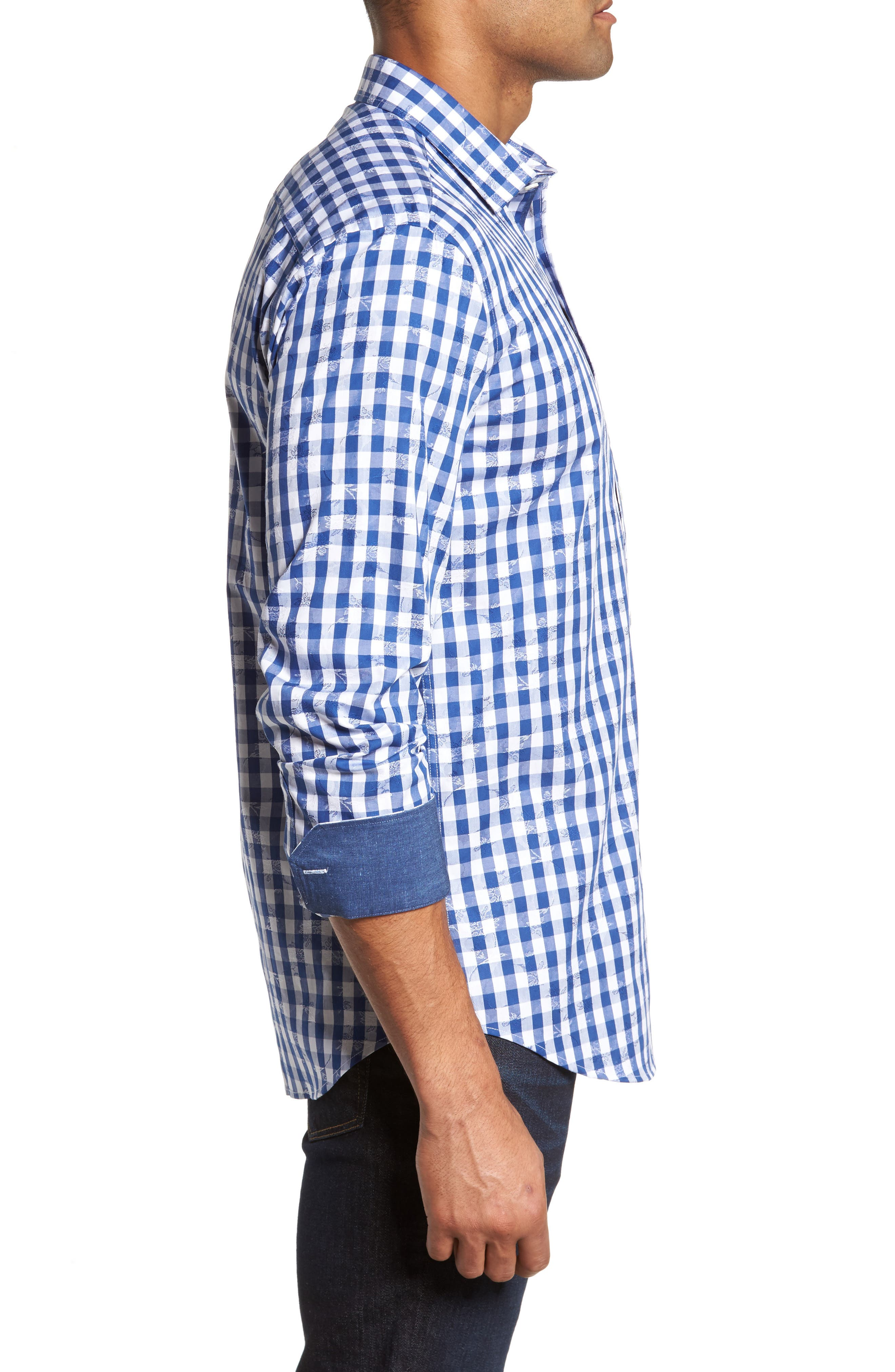 Shaped Fit Check Sport Shirt,                             Alternate thumbnail 3, color,                             Navy