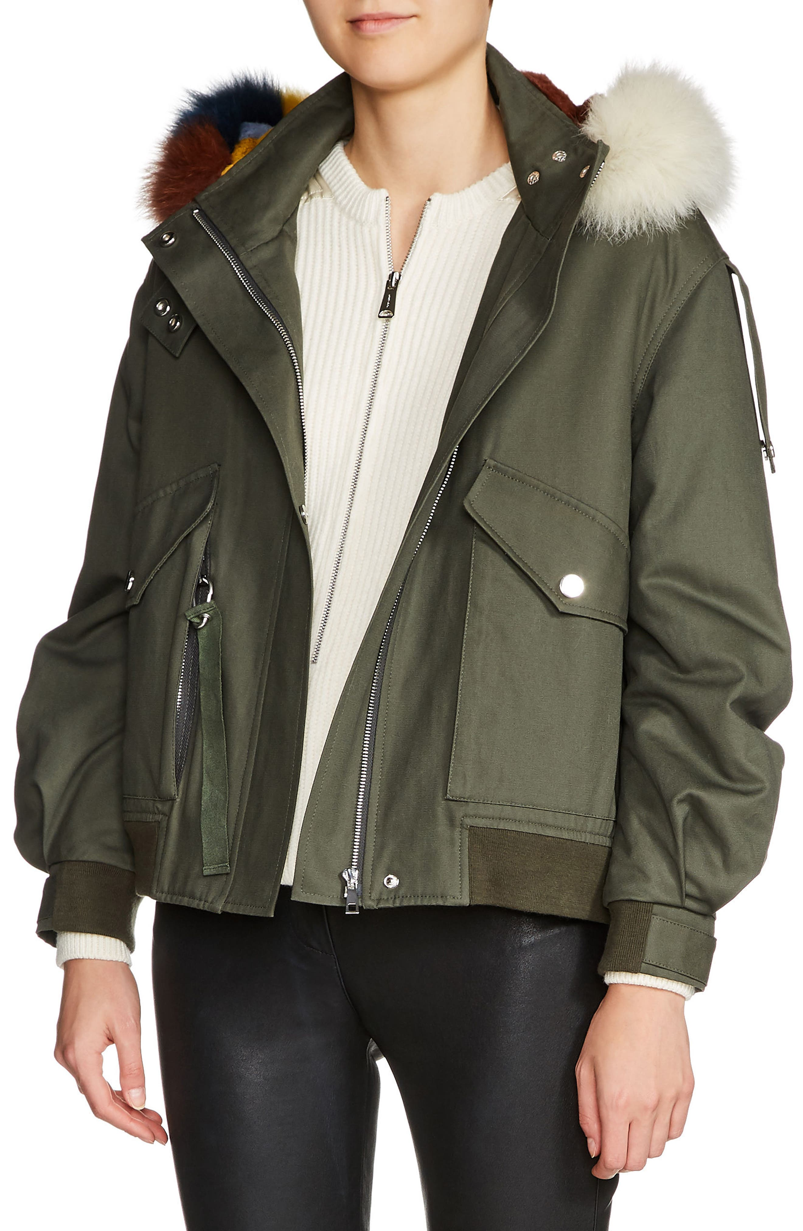 maje Bobby Multicolored Genuine Fur Trim Jacket