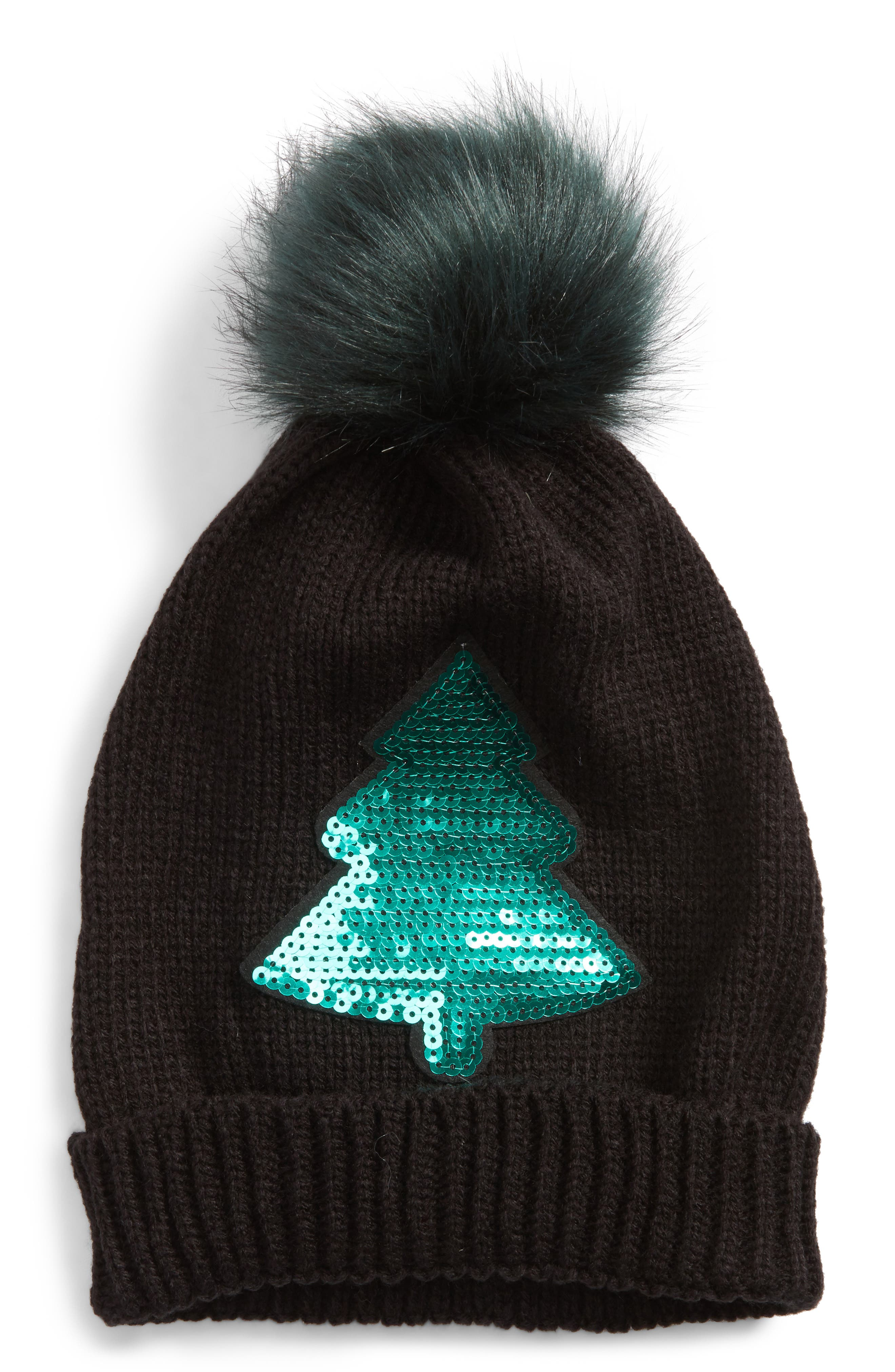 Tucker + Tate Christmas Tree Faux-Fur Pom Beanie (Big Girls)