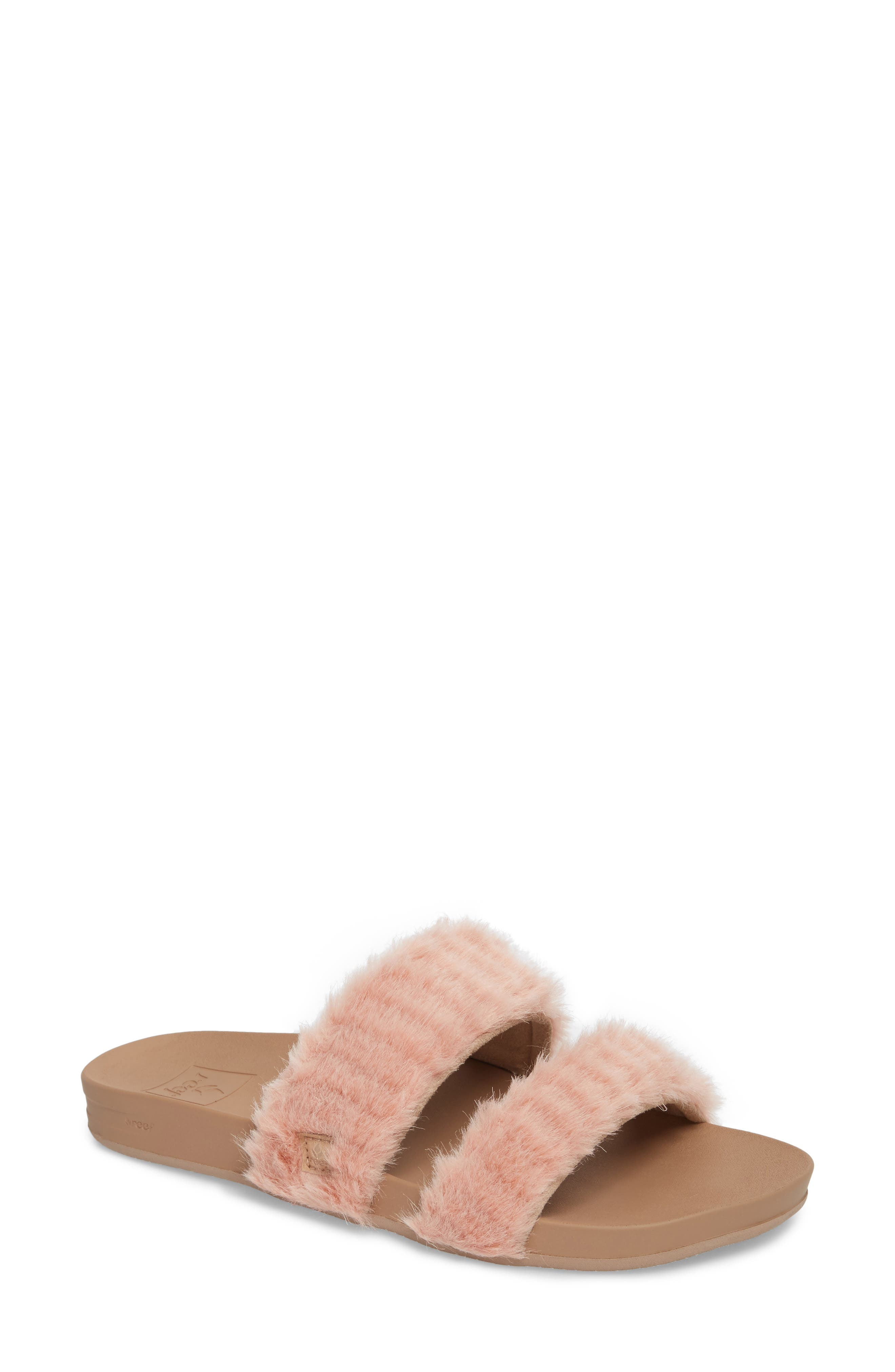 Bounce Faux Fur Double Strap Slide Sandal,                             Main thumbnail 1, color,                             Blush