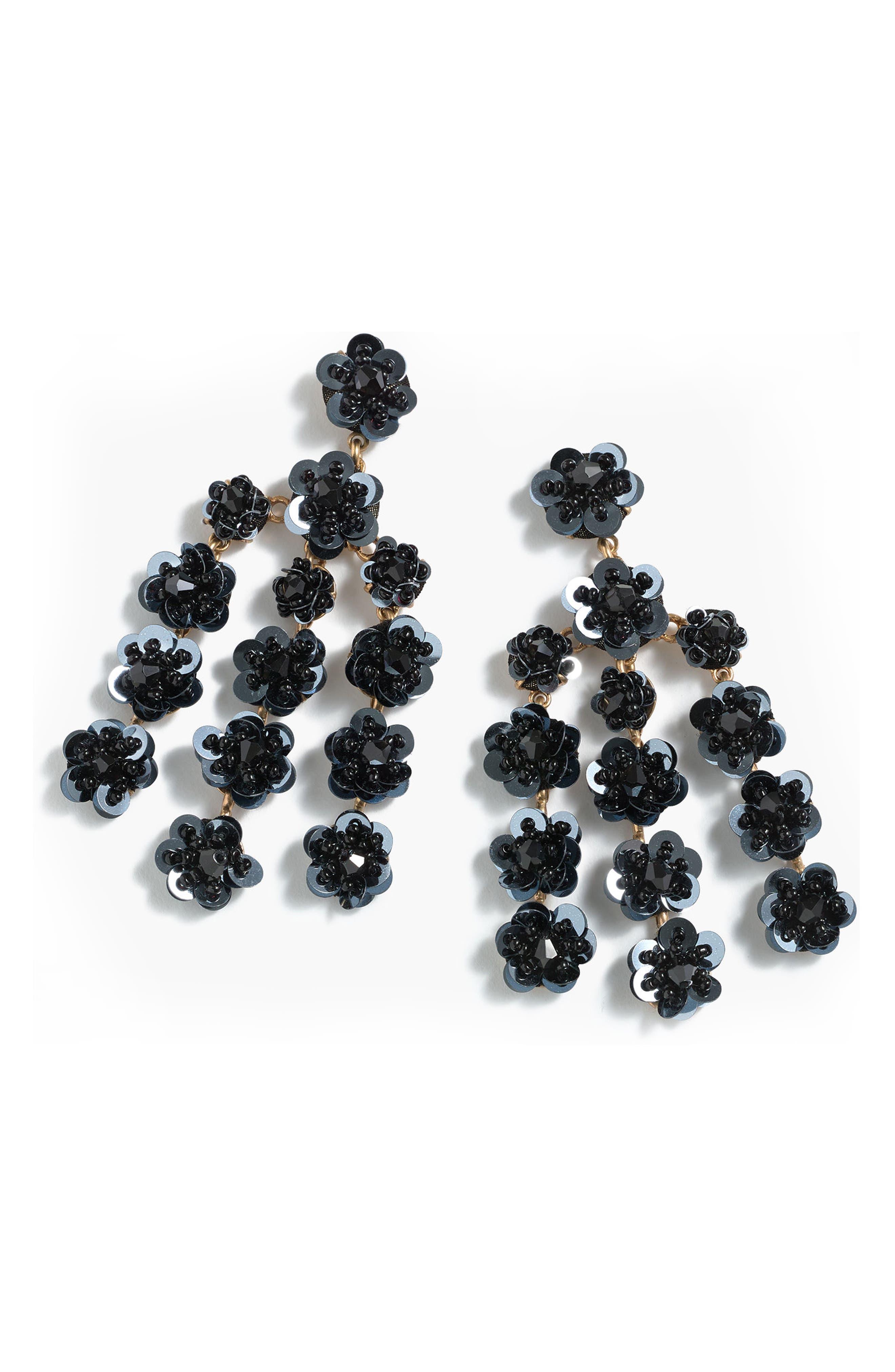 Sequin Daisy Chandelier Earrings,                             Main thumbnail 1, color,                             Black
