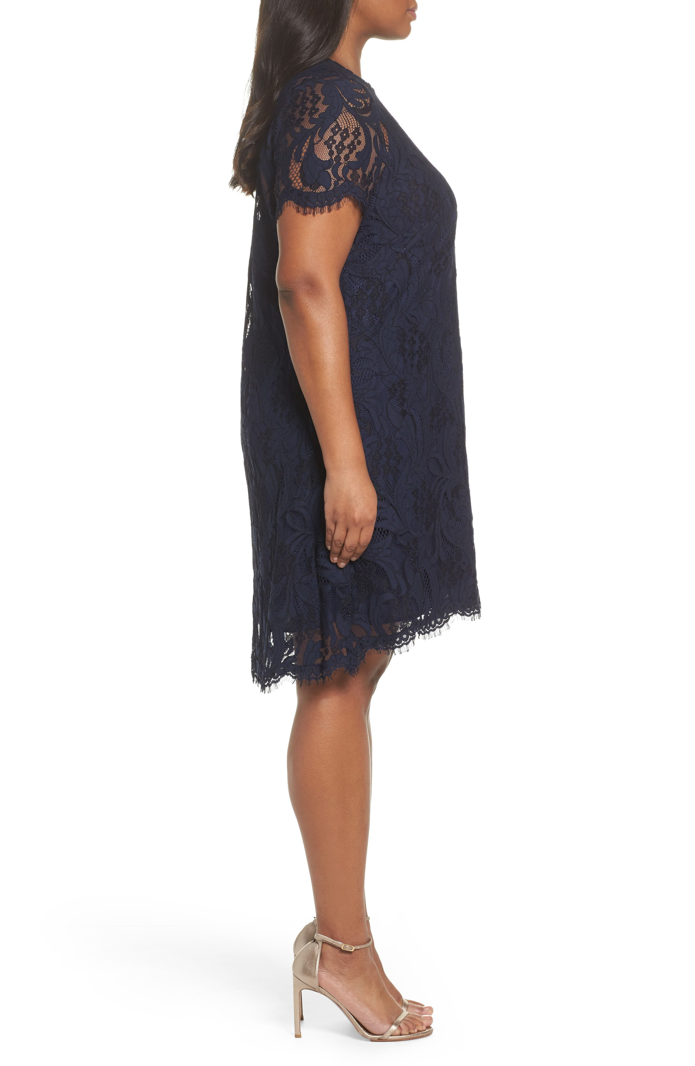 Lace High/Low Dress,                             Alternate thumbnail 3, color,                             Navy