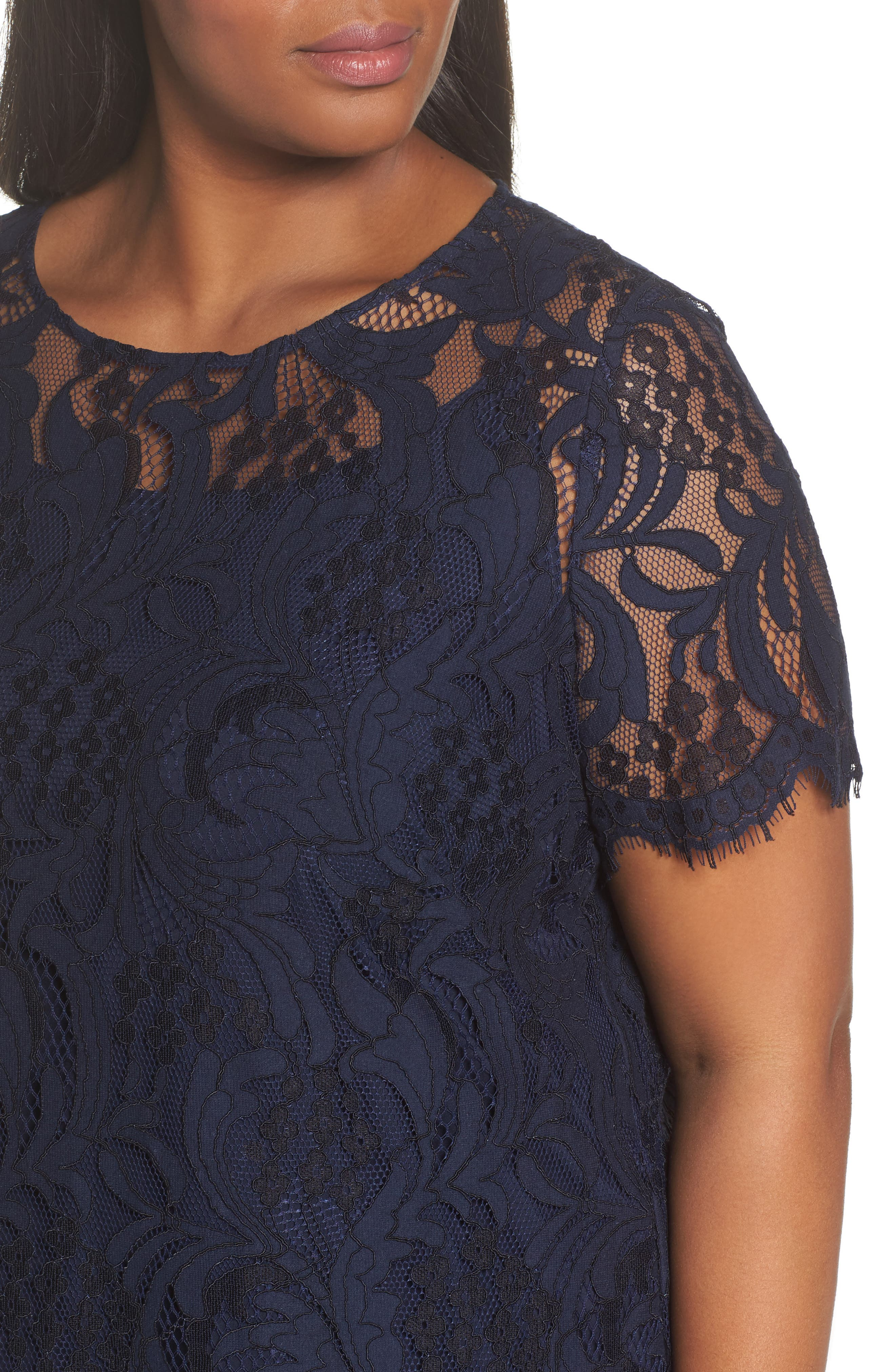 Lace High/Low Dress,                             Alternate thumbnail 4, color,                             Navy