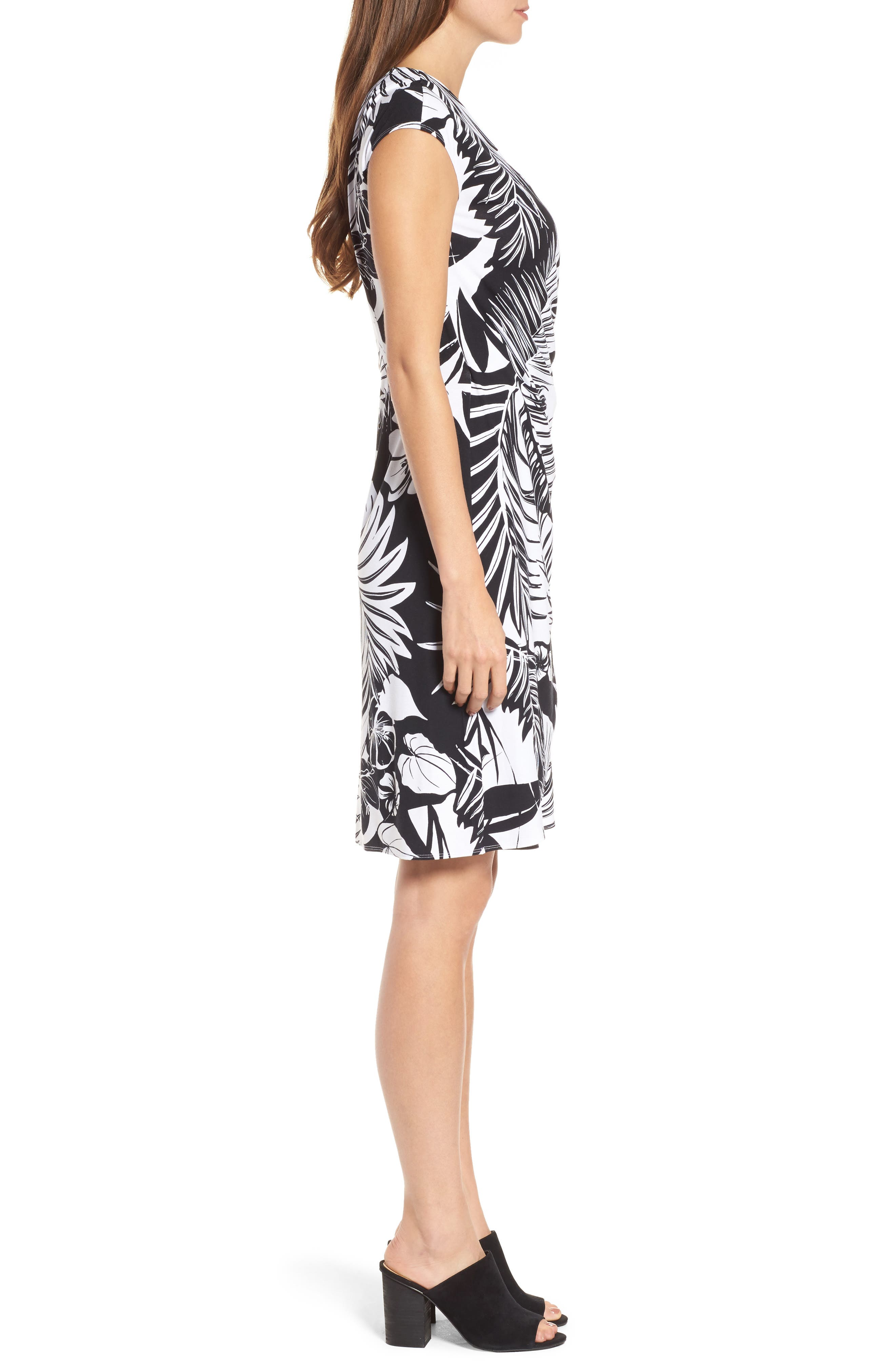 Let's Be Fronds Faux Wrap Dress,                             Alternate thumbnail 3, color,                             Black