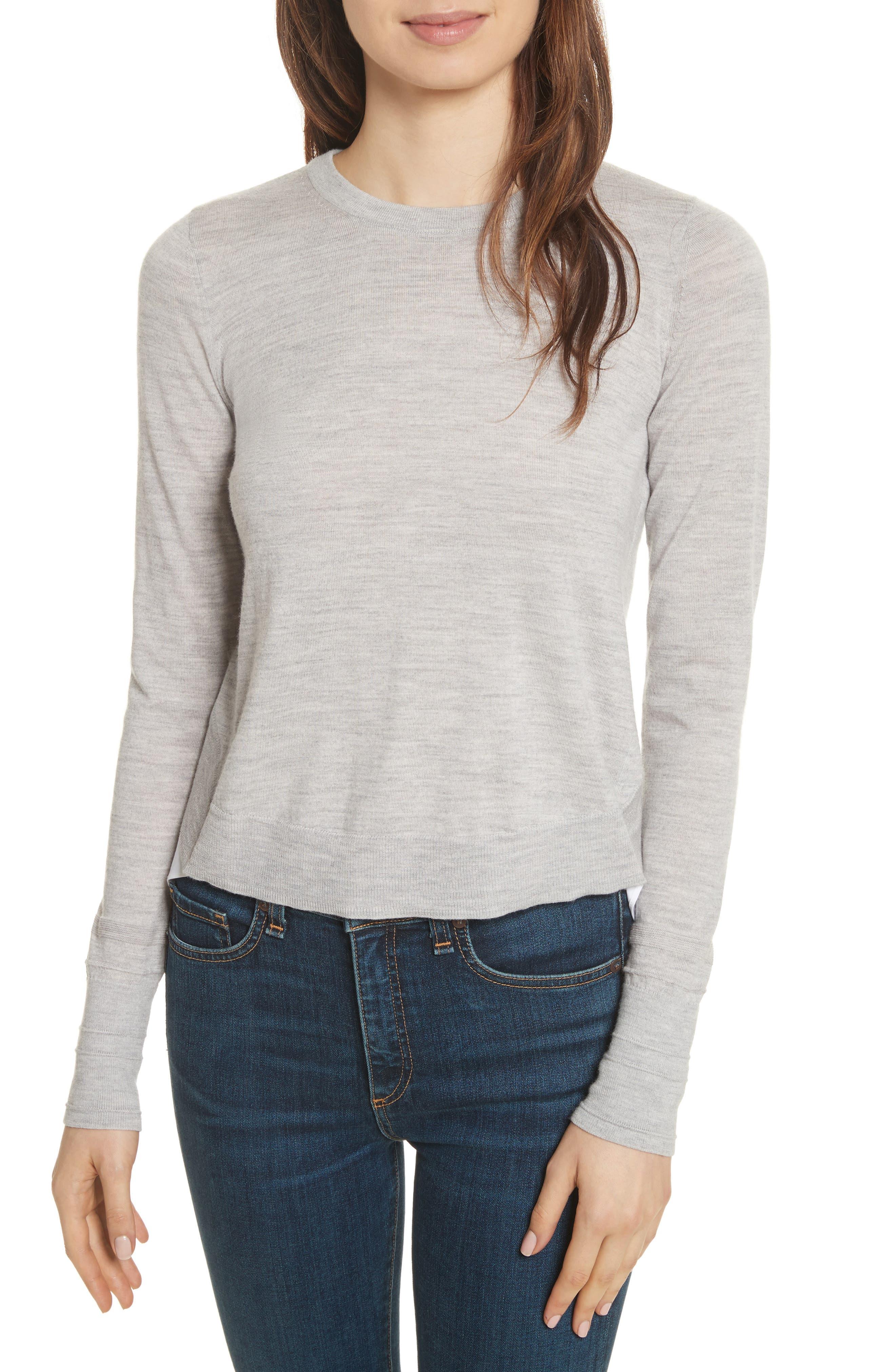 Alma Mixed Media Sweater,                             Main thumbnail 1, color,                             Heather Grey