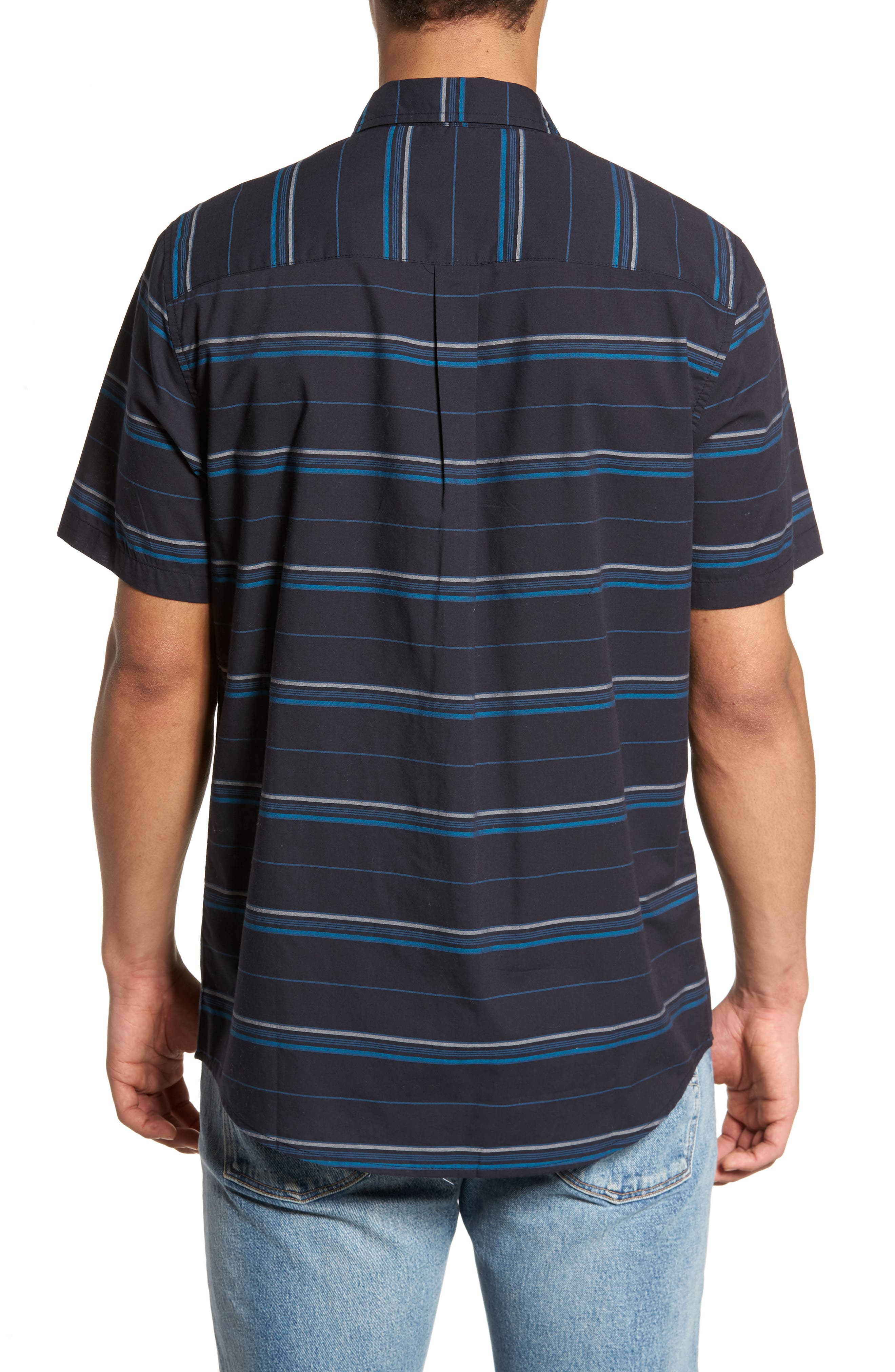 Striped Woven Shirt,                             Alternate thumbnail 2, color,                             Navy