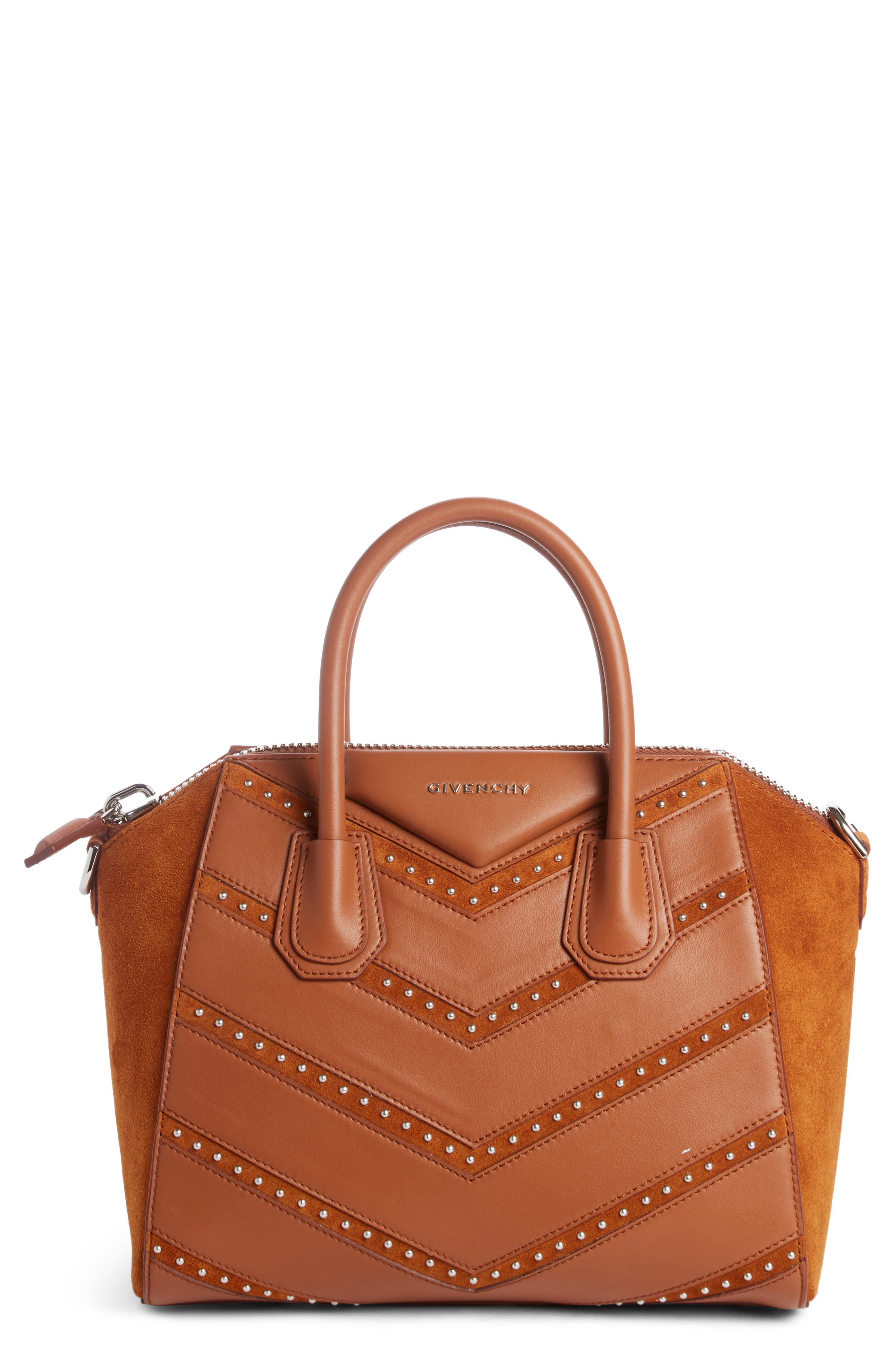 Givenchy Small Antigona Studded Chevron Suede & Leather Satchel