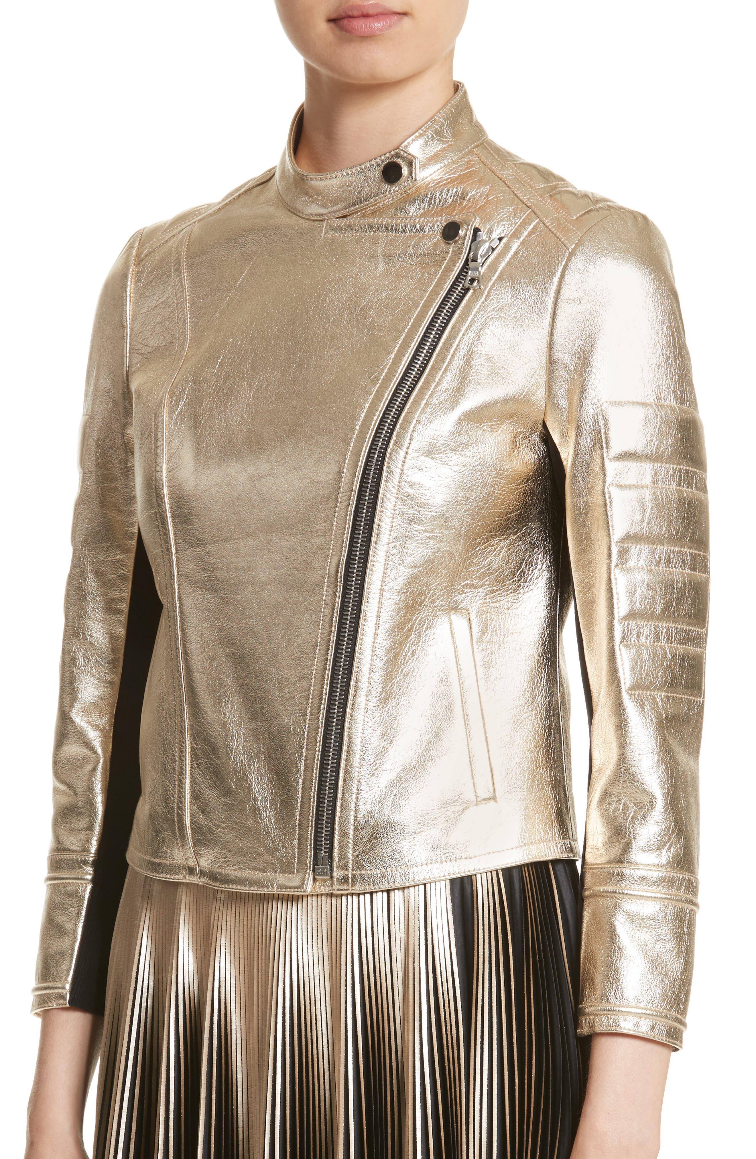 Alternate Image 4  - Yigal Azrouël Foiled Metallic Leather Moto Jacket