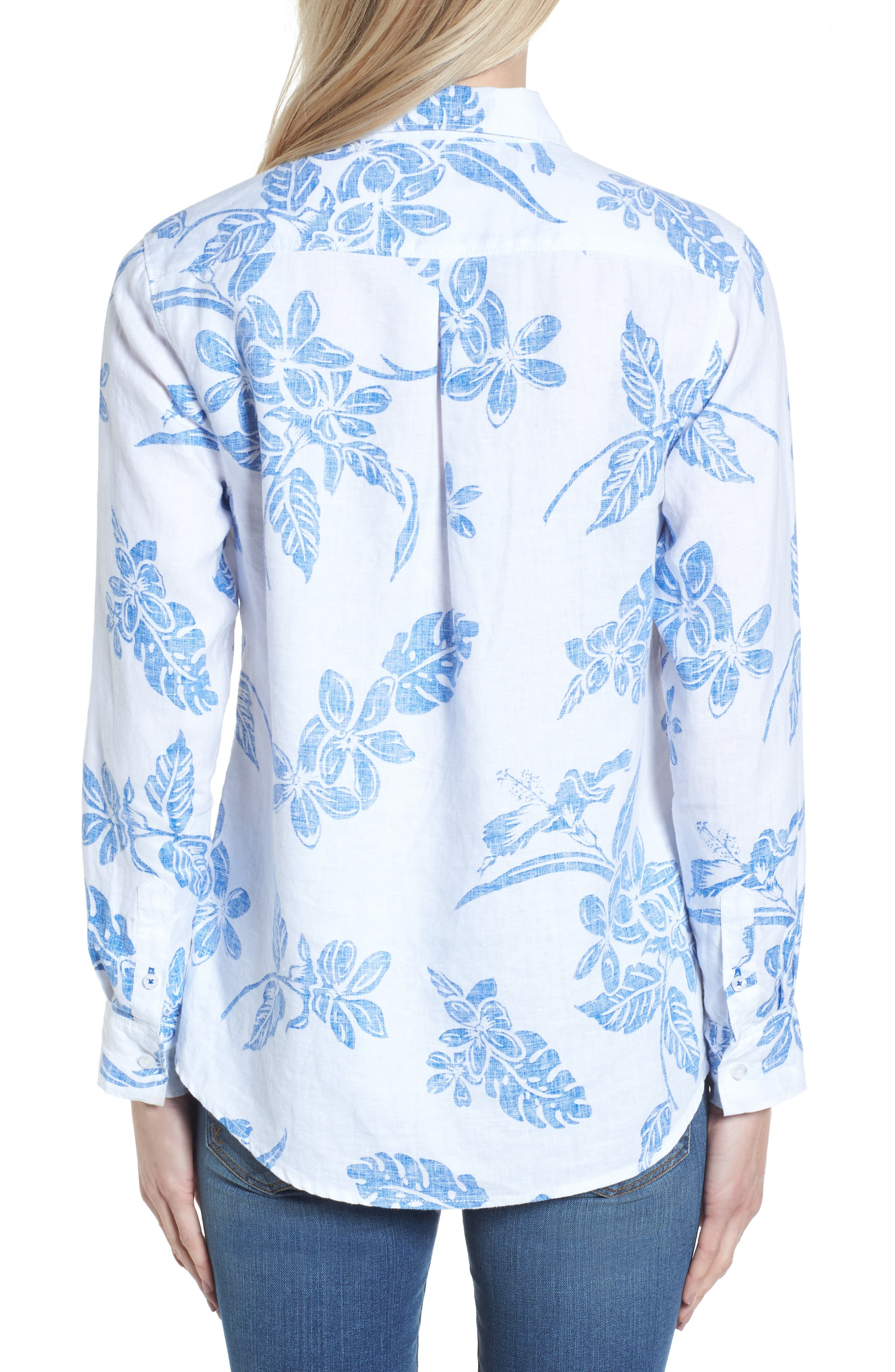 Hibiscus Hiatus Long Sleeve Top,                             Alternate thumbnail 2, color,                             White/ Cobalt