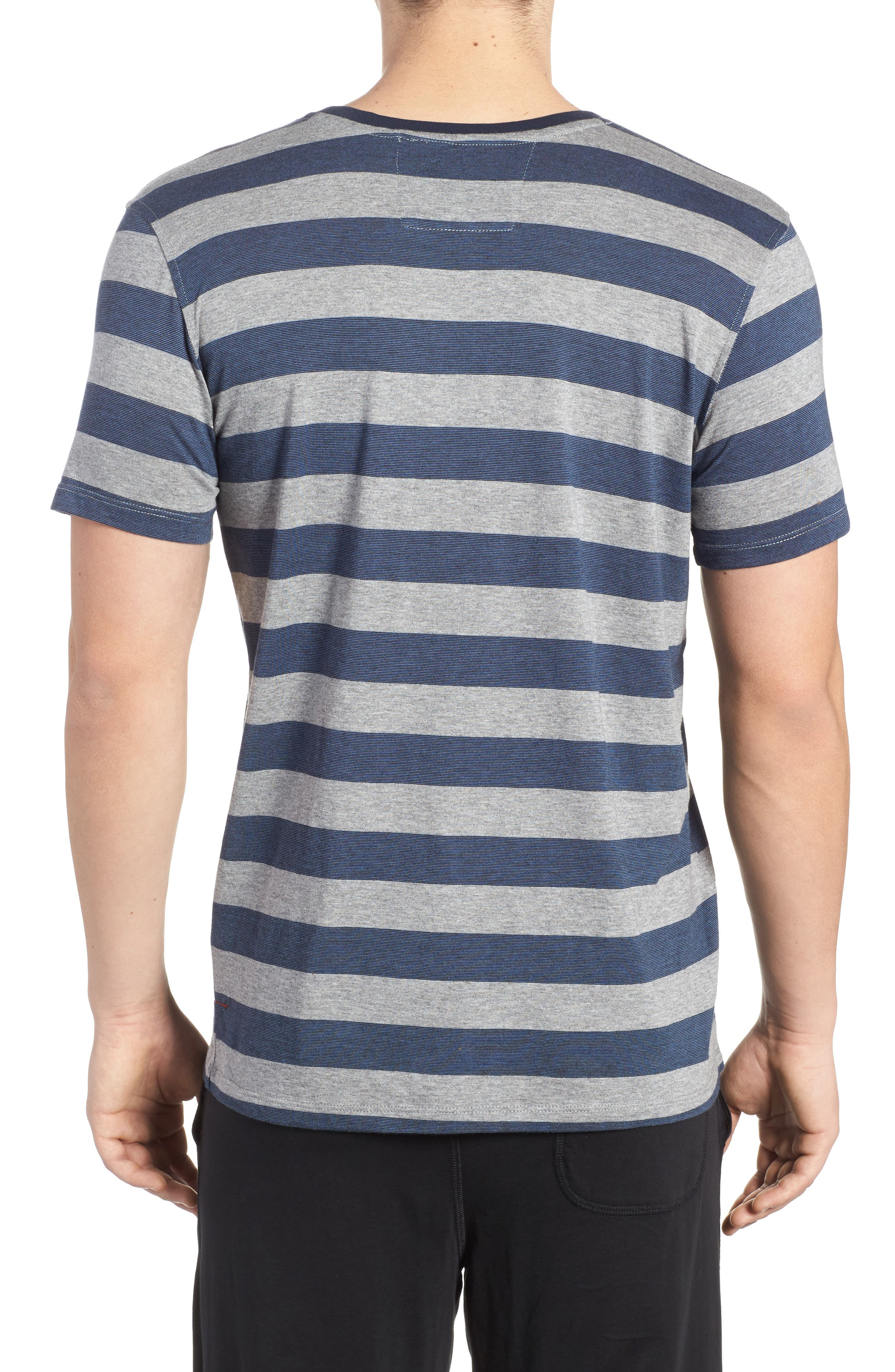Stripe Pima Cotton & Modal Crewneck T-Shirt,                             Alternate thumbnail 2, color,                             Grey/ Blue