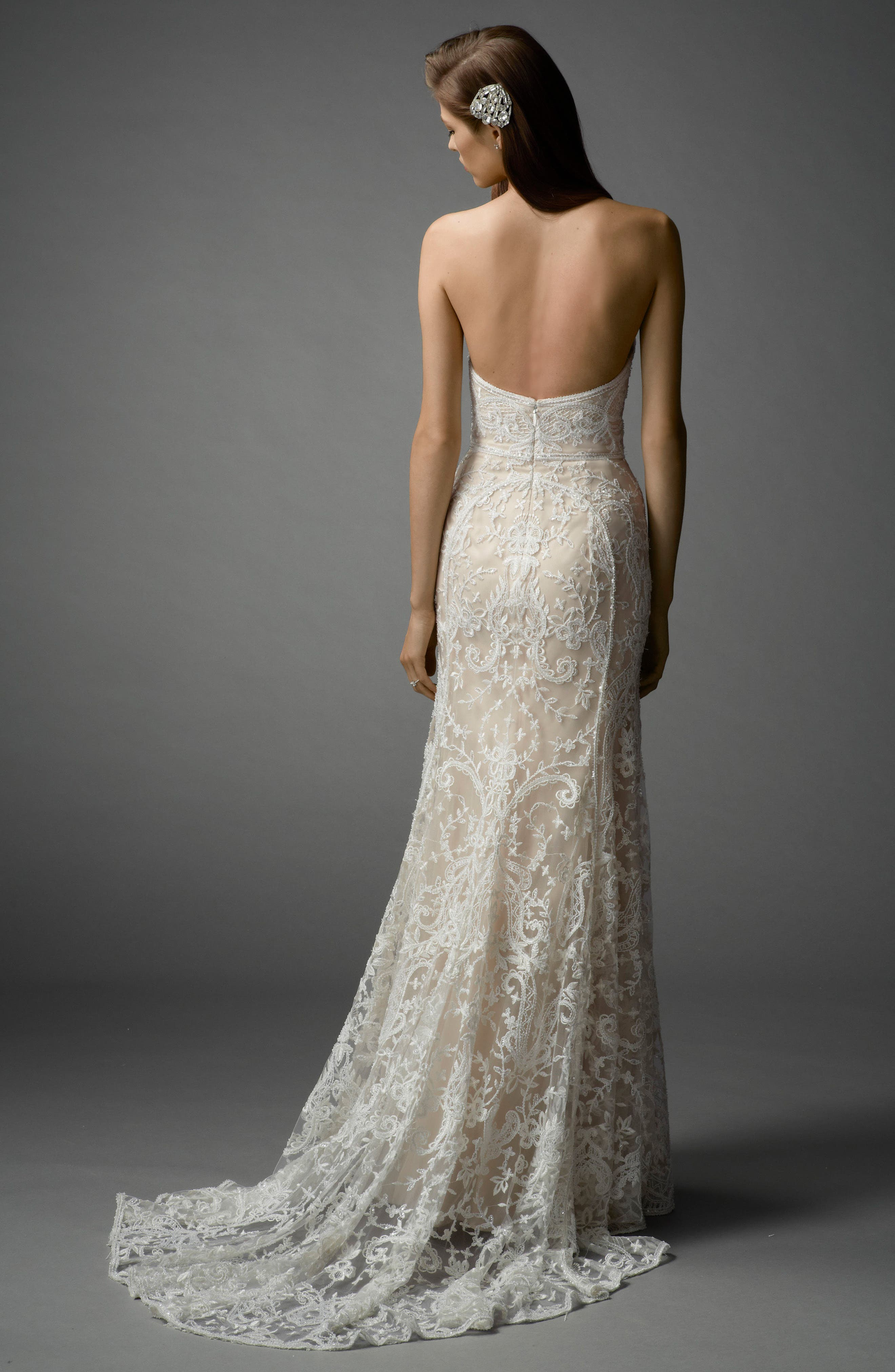 Nyra Embroidered Strapless A-Line Gown,                             Alternate thumbnail 2, color,                             Ivory/Almond