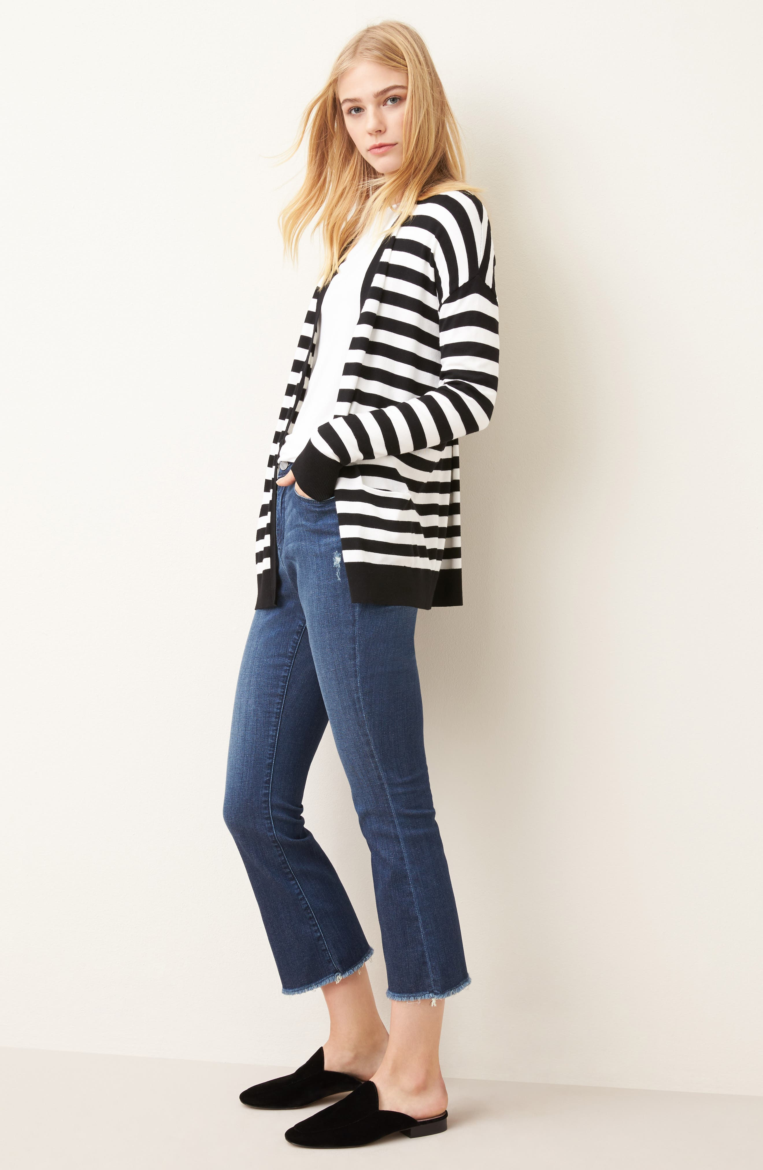 Relaxed Pocket Cardigan,                             Alternate thumbnail 2, color,                             Black- Ivory Stripe
