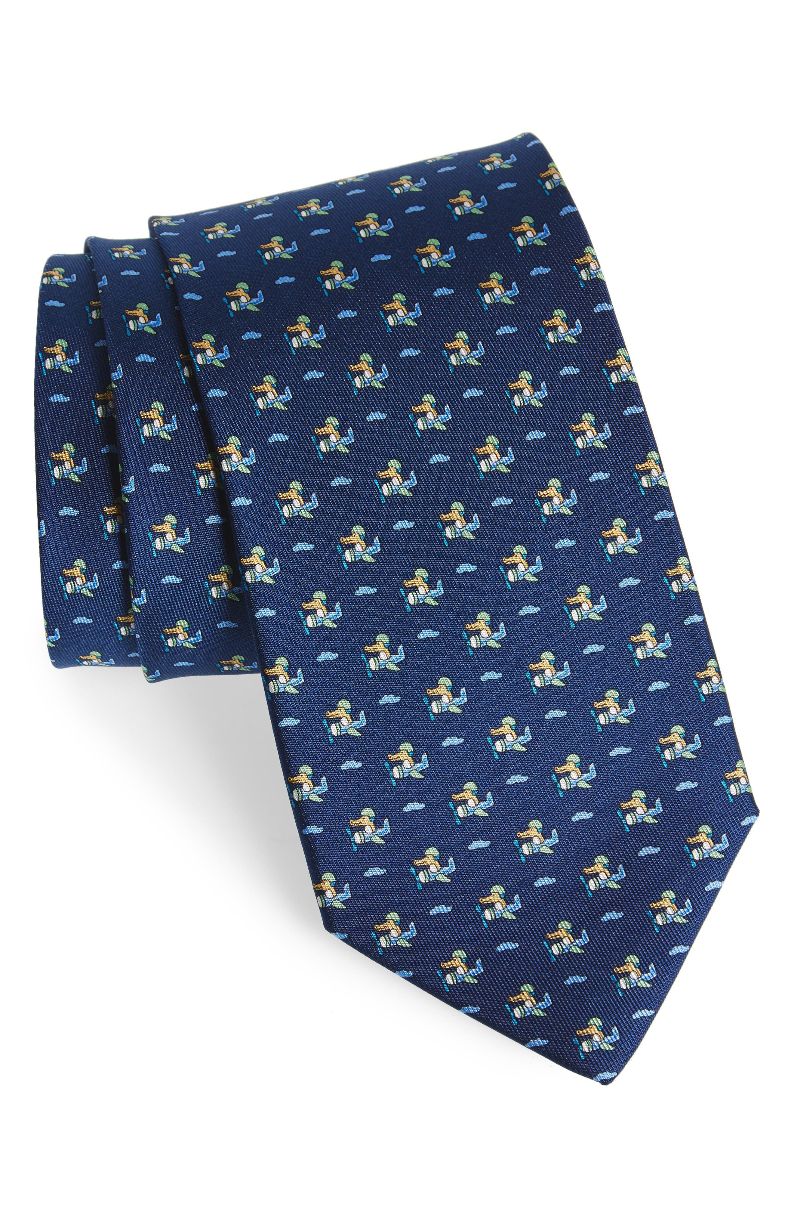 Ercole Print Silk Tie,                         Main,                         color, Marine